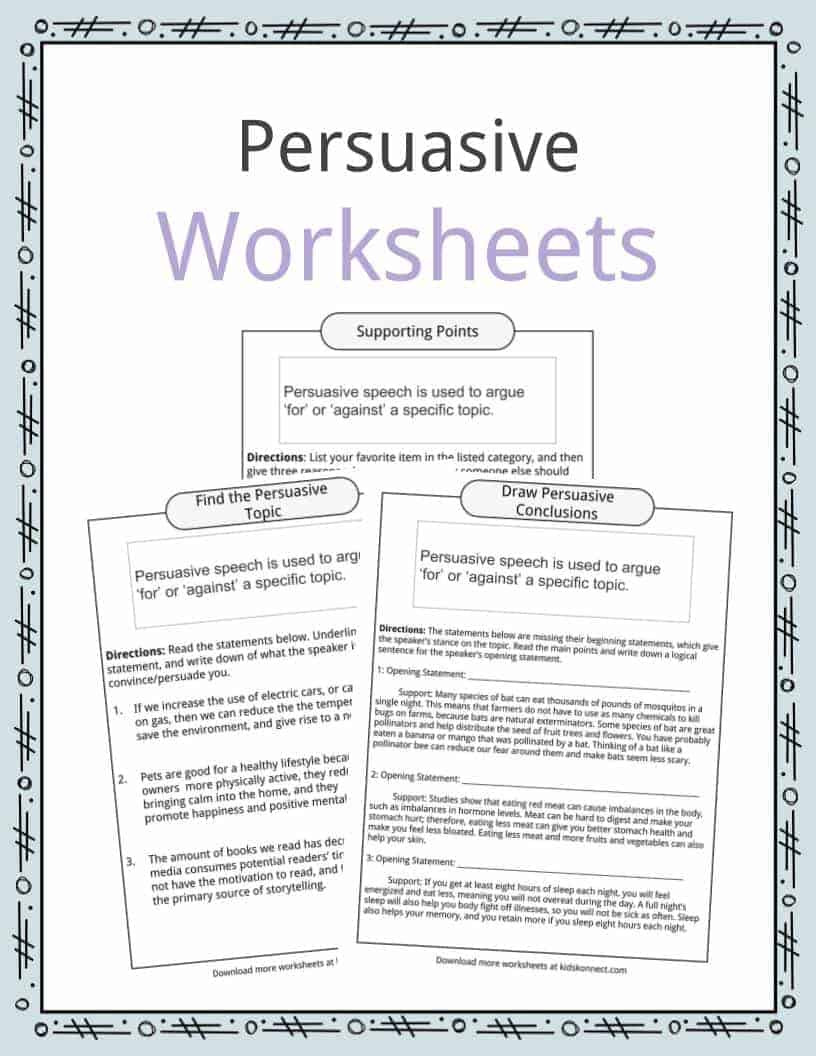 Topic Sentence Worksheets 5th Grade Persuasive Speech topic Examples Worksheets & Facts for Kids