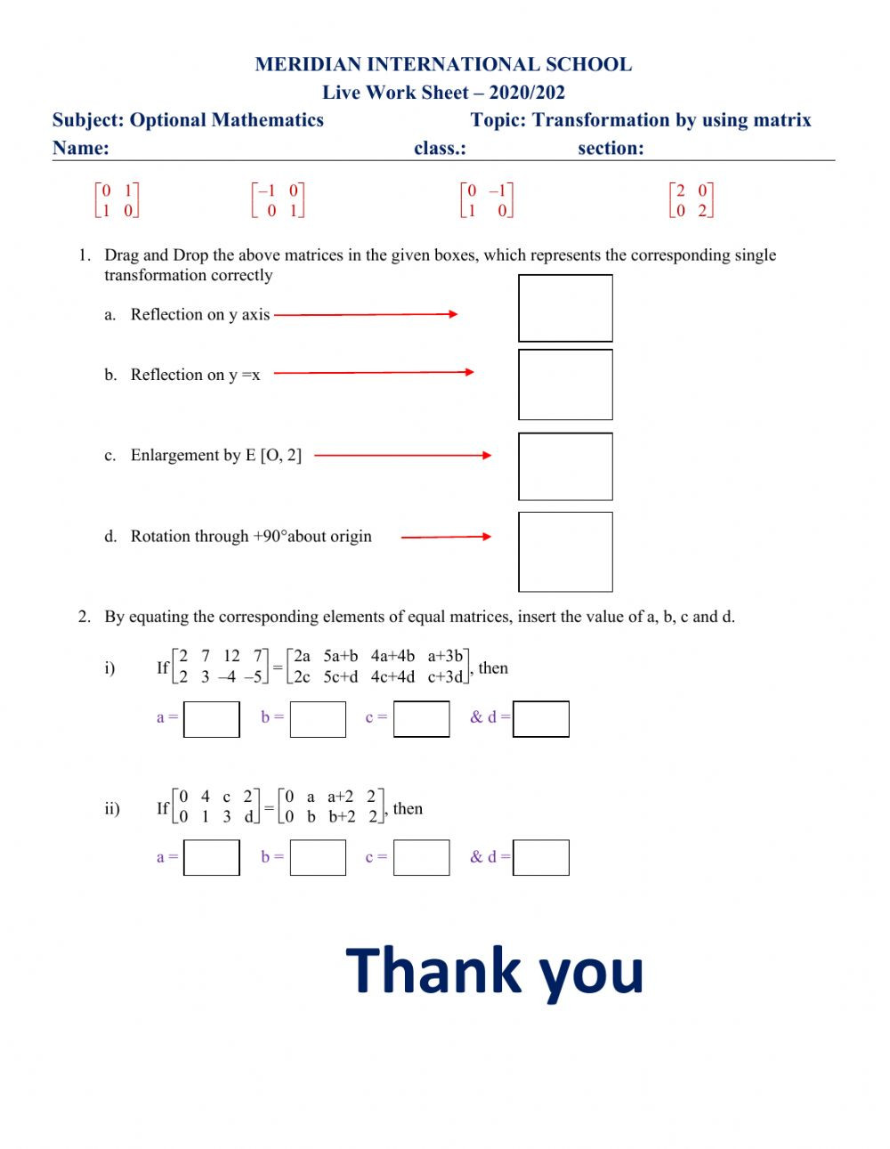 Transformations Math Worksheets Transformation by Matrix Interactive Worksheet