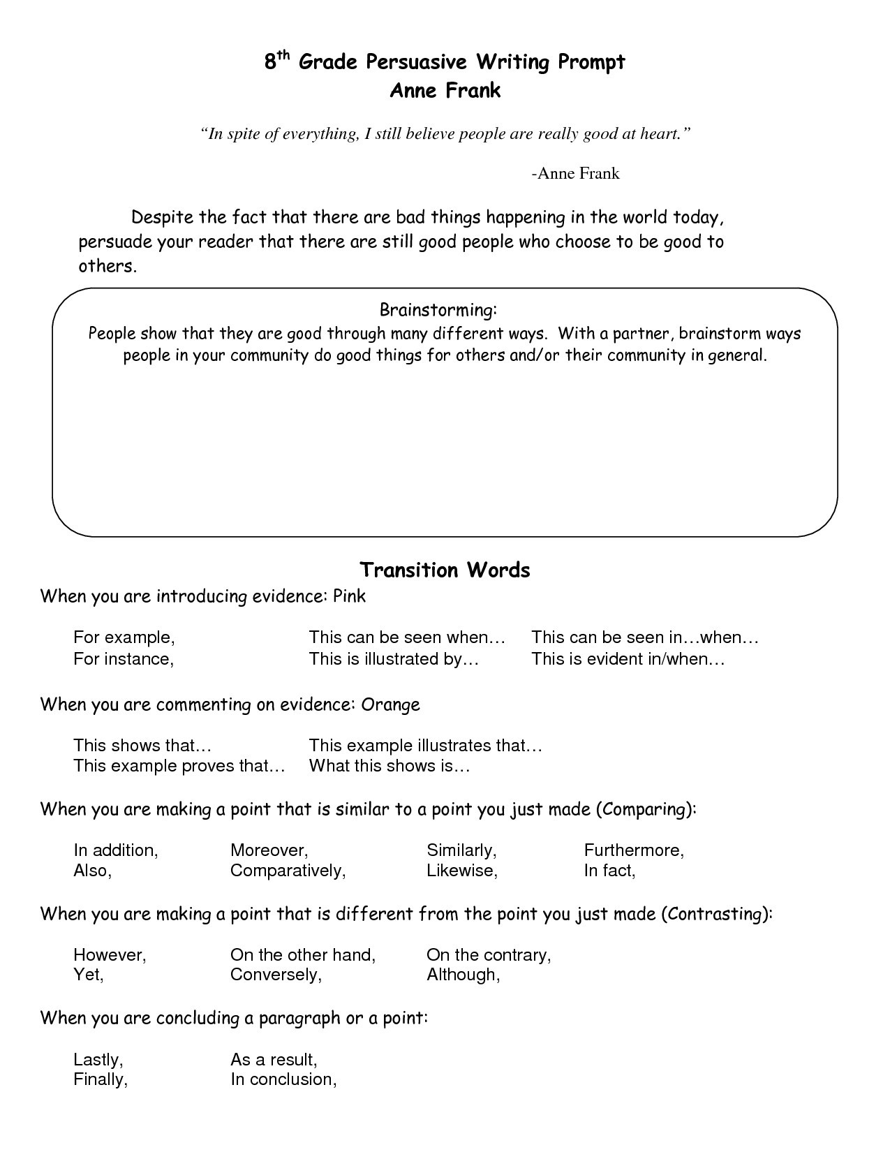 Transition Words Worksheets 4th Grade Transition Words Worksheet