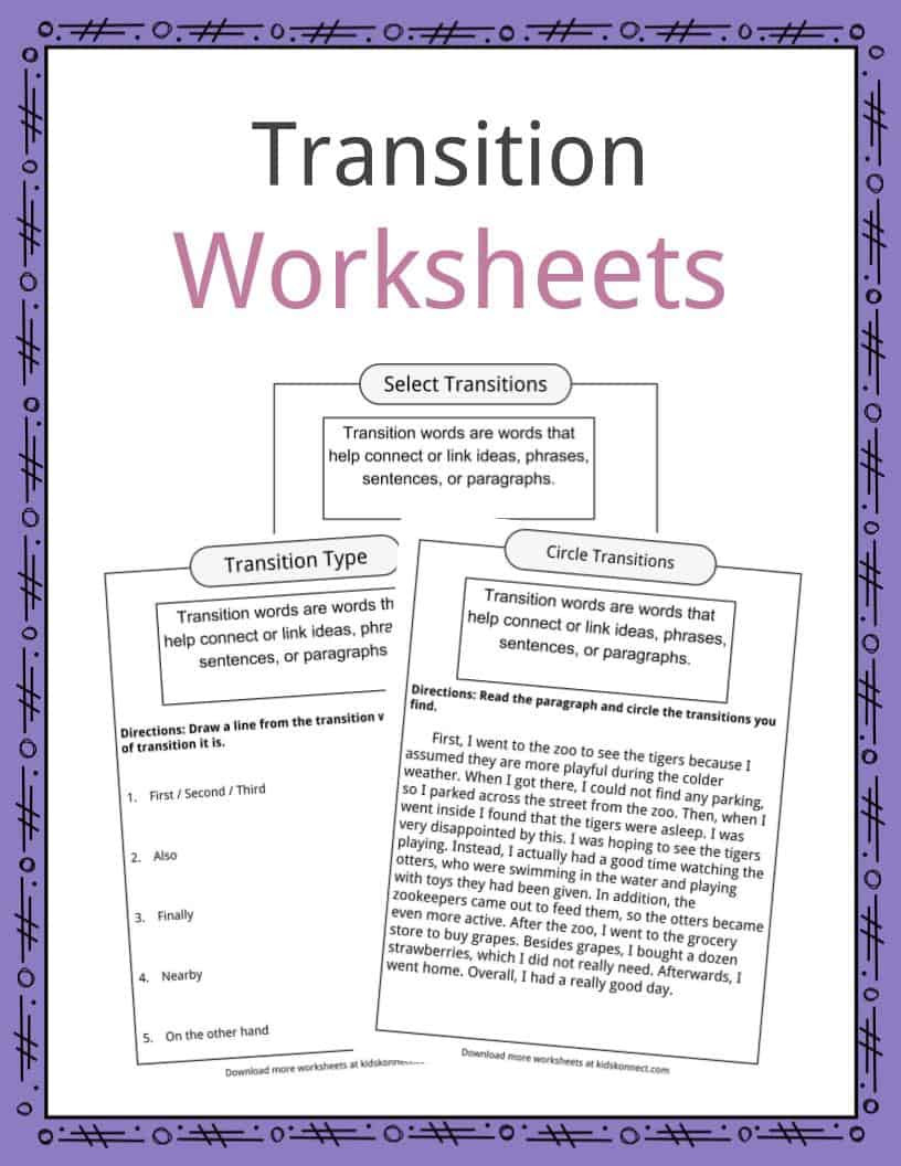 Transition Words Worksheets Examples & Definition For Kids