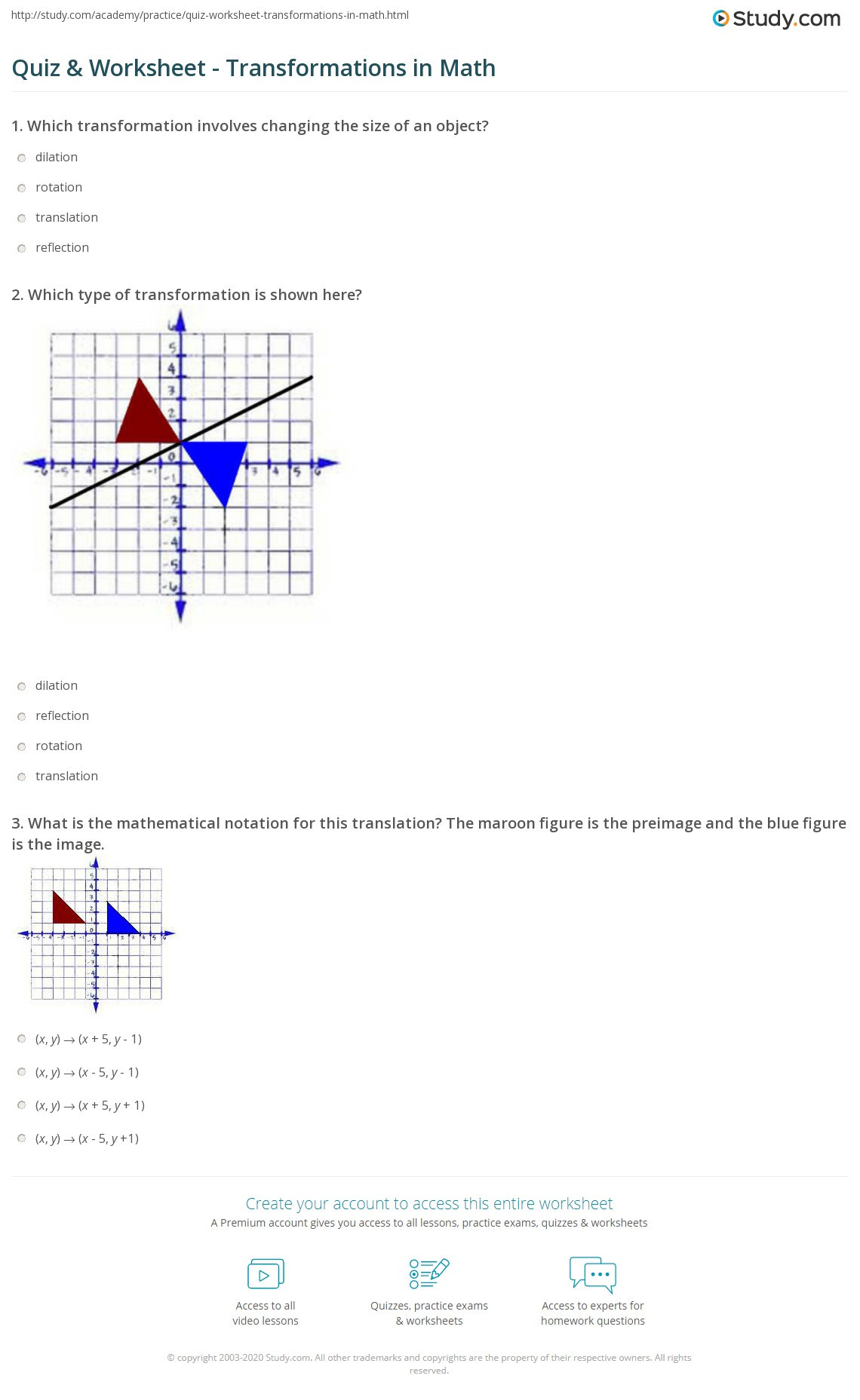 Translation Worksheets Math Quiz & Worksheet Transformations In Math