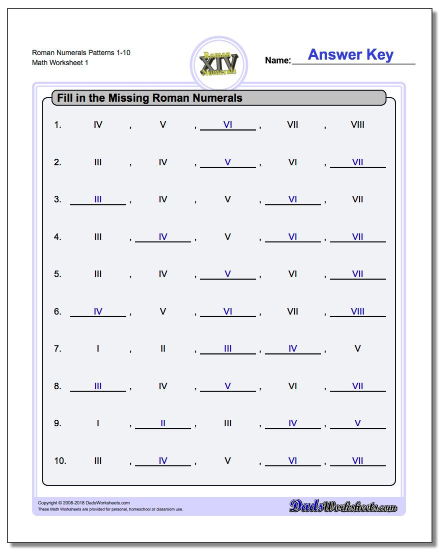 Translation Worksheets Math Roman Numerals