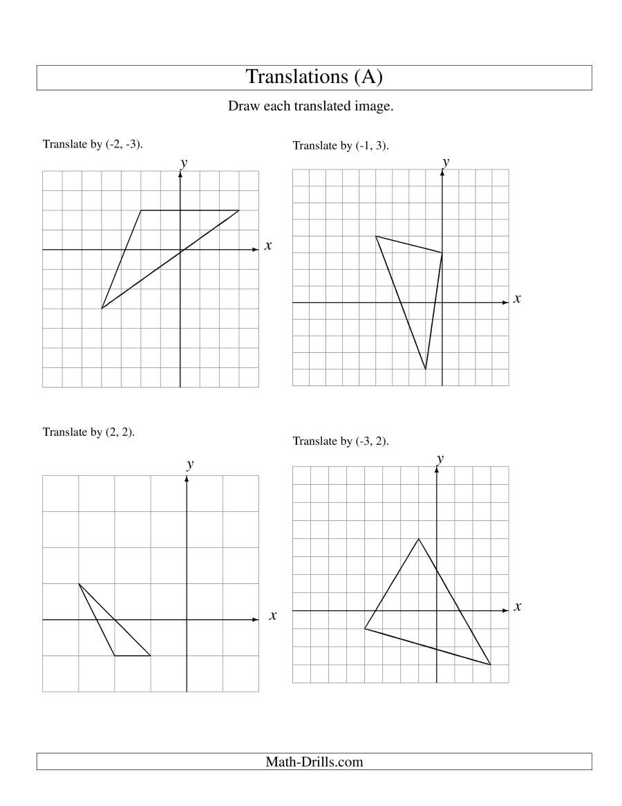 Translation Worksheets Math Translation Of 3 Vertices Up to 3 Units A