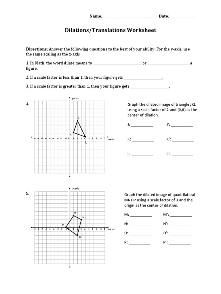 Translations Math Worksheets Dilations Translations Pdf