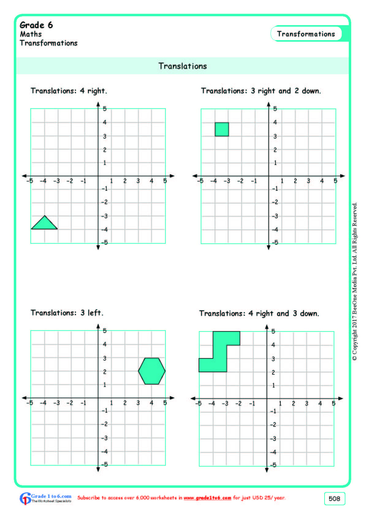 Translations Math Worksheets Grade 6 Class Six Translations Worksheets