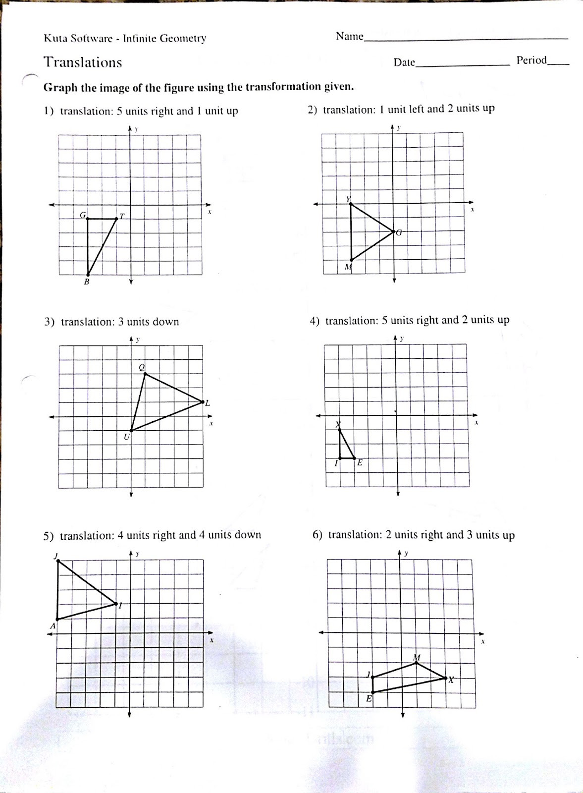Translations Math Worksheets Rotation Worksheet Kindergarten
