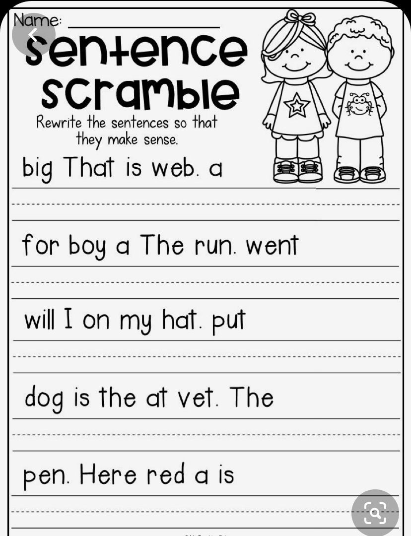 Unscramble Sentences Worksheets 1st Grade Pin by Rosa On Kg In 2020