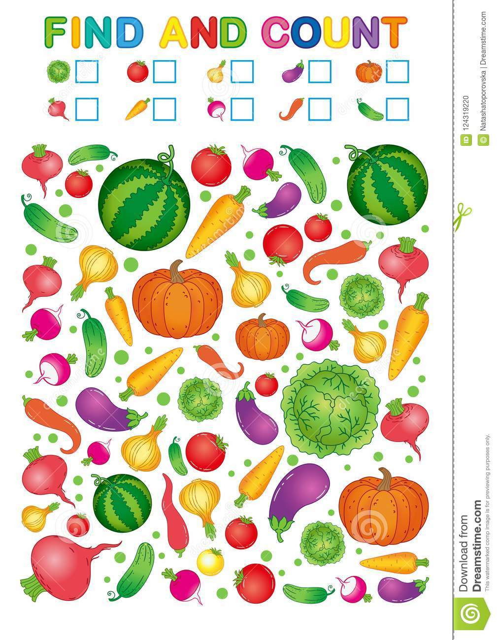 Vegetable Worksheets for Preschool Find and Count Printable Worksheet for Kindergarten and