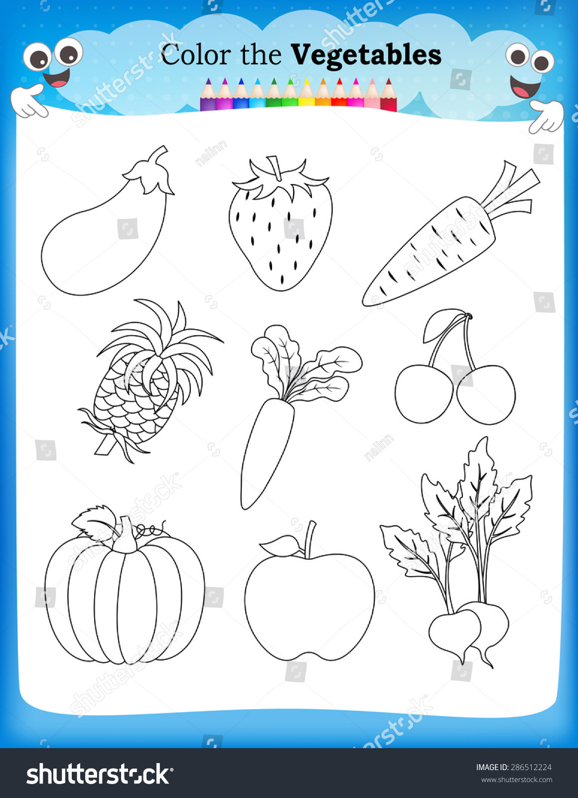 Vegetable Worksheets for Preschool Kids Worksheet Fruits Ve Ables Stock Vector Royalty Free