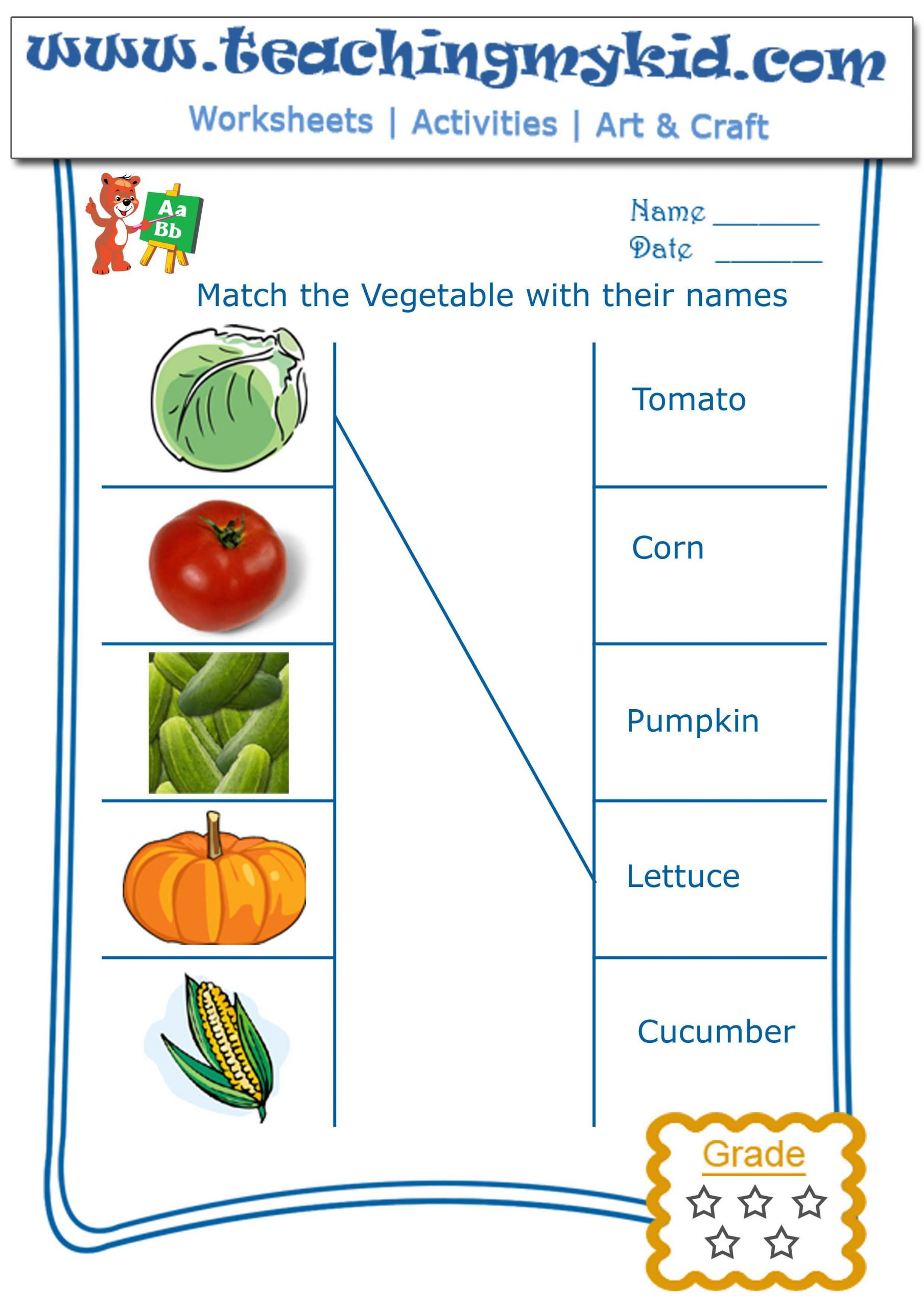 Vegetable Worksheets for Preschool Kindergarten Worksheet Match Ve Ables with their Names 2