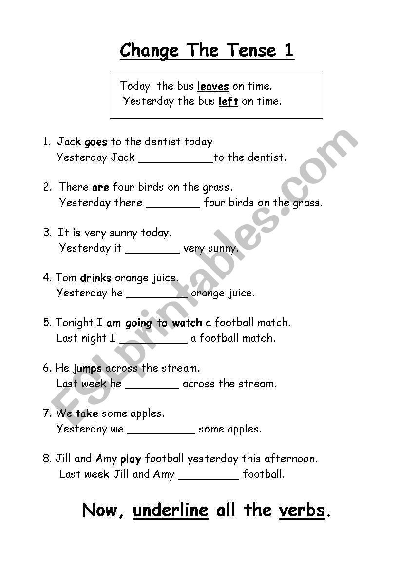 Verb Tense Worksheets 1st Grade English Worksheets Change the Tense Changing 1st Grade Math