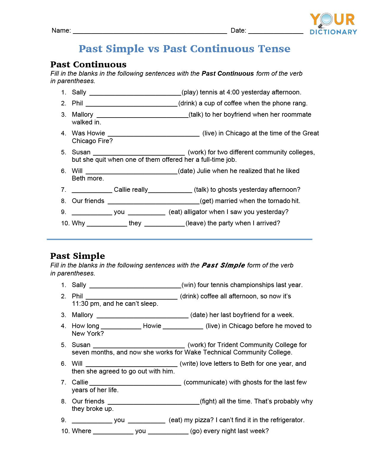 Verb Tense Worksheets Middle School Irregular Verb Worksheets