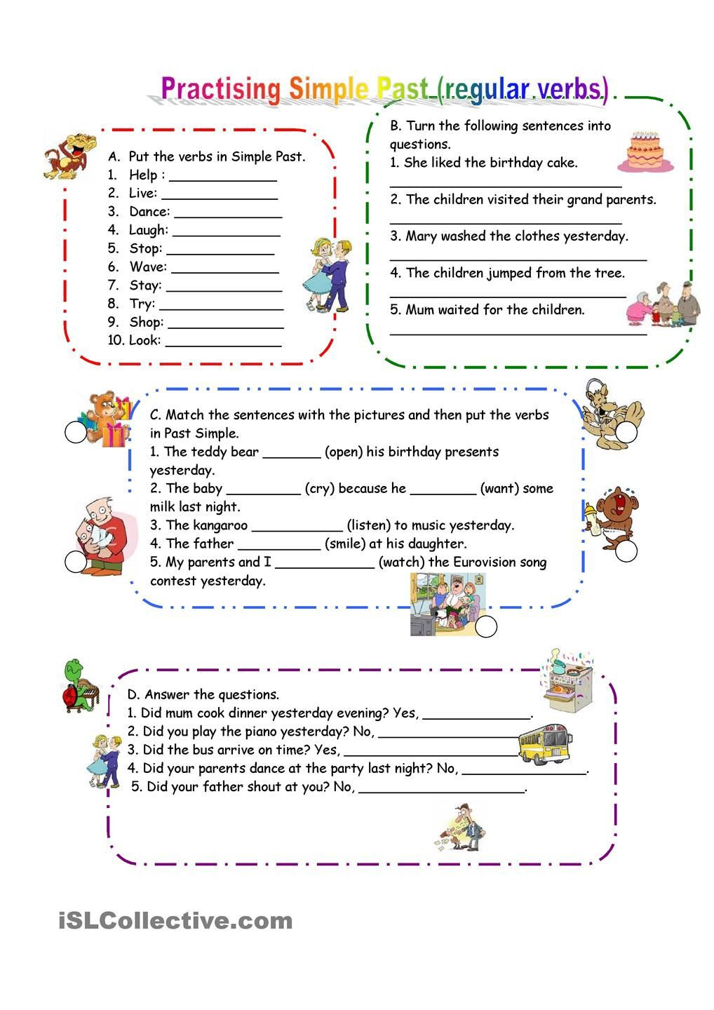 Verb Tense Worksheets Middle School Practicing Past Simple Regular Verbs