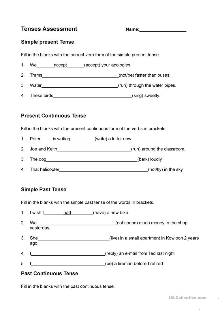 Verb Tense Worksheets Middle School Present Past and Future Tenses English Esl Worksheets for