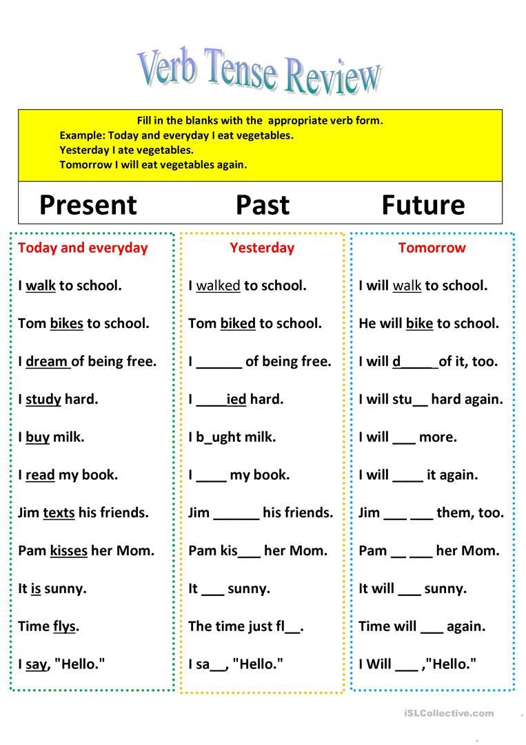 Verb Tense Worksheets Middle School Revision Of Verb Tenses Present Past and Future Worksheet