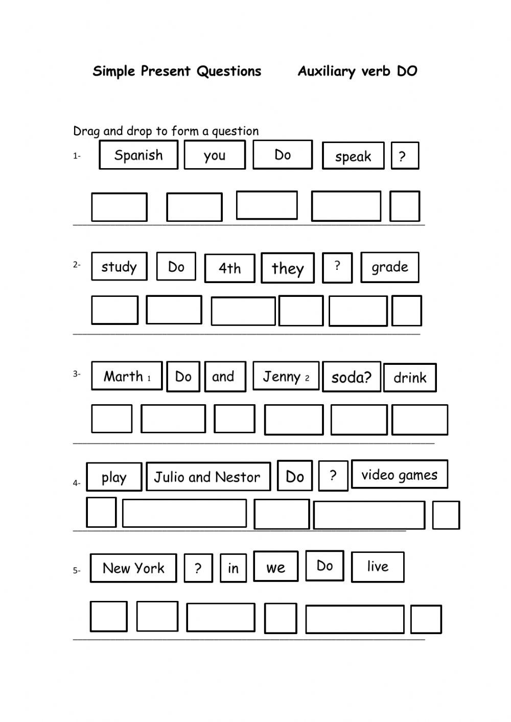 Verbs Worksheet 4th Grade Simple Present Questions with Aux Verb Do Interactive