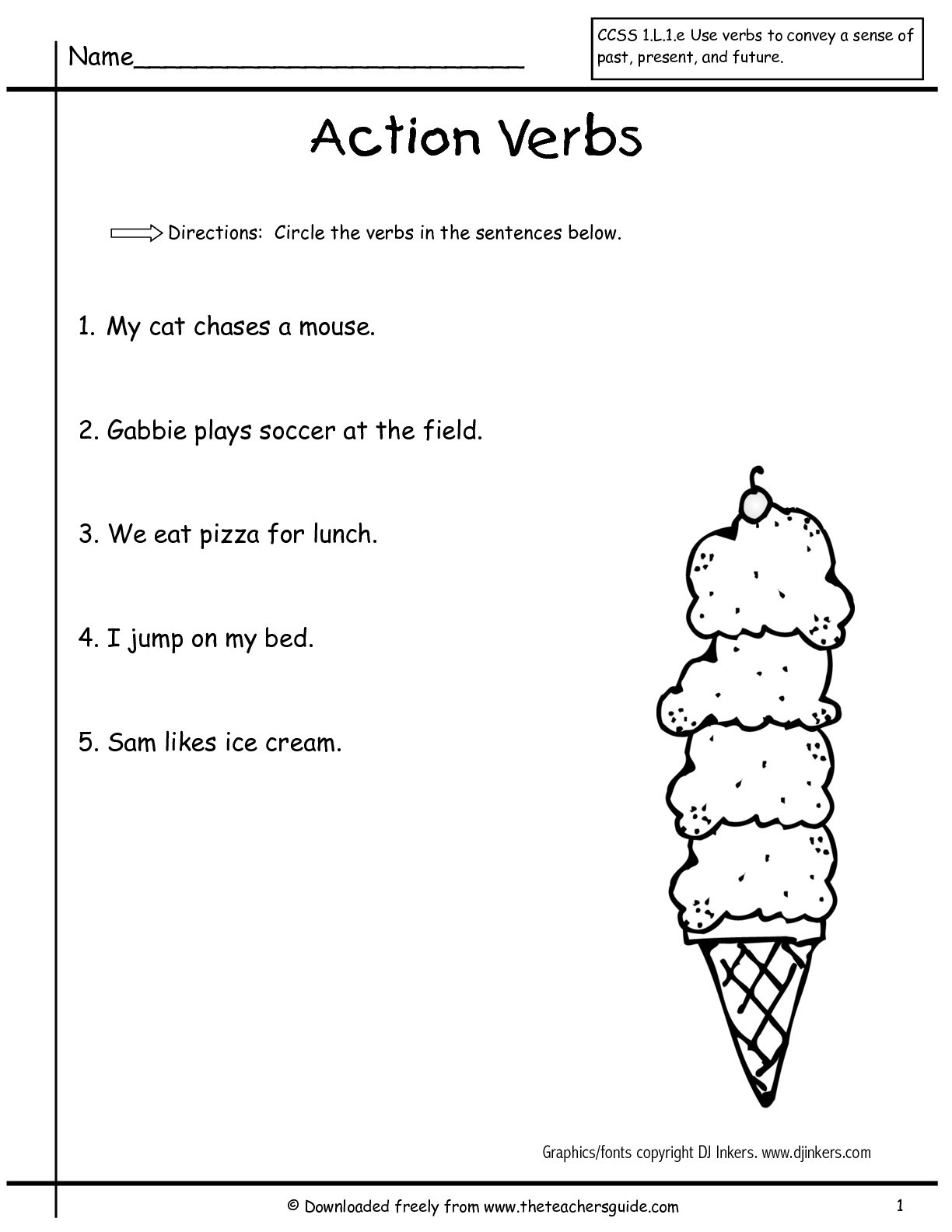 Verbs Worksheets First Grade First Grade Worksheets Action Word
