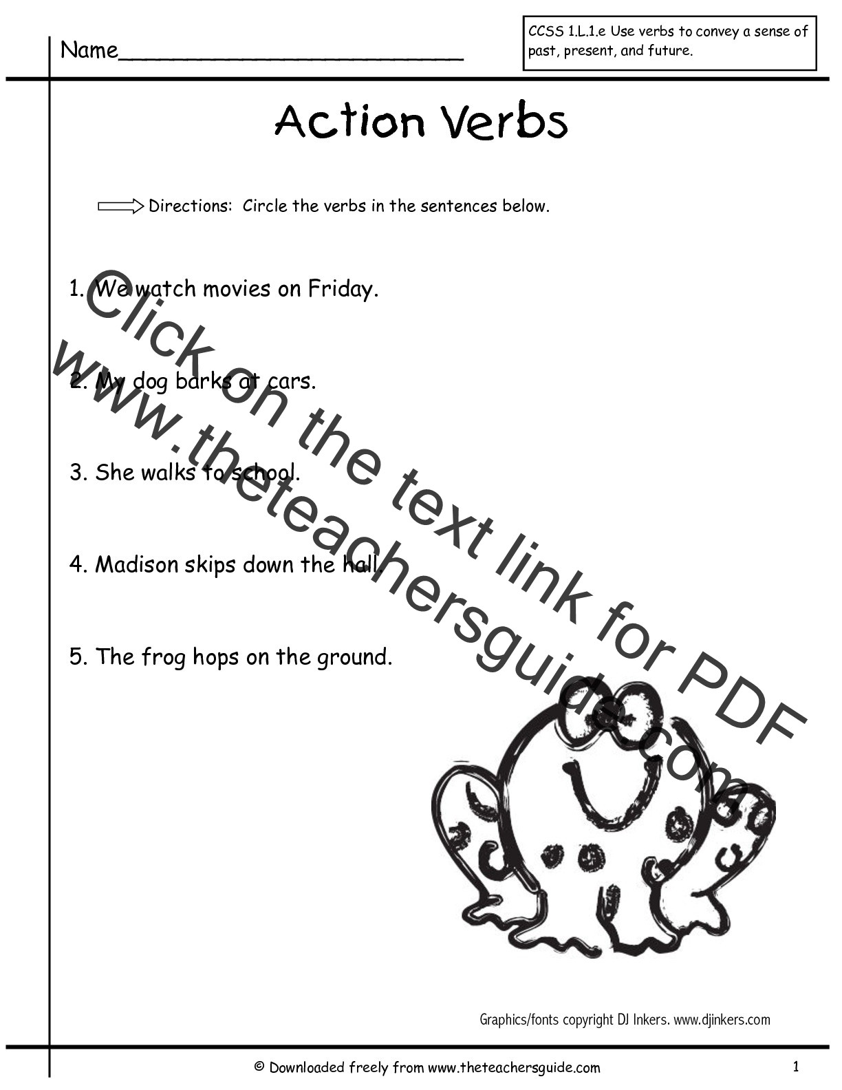 Verbs Worksheets First Grade Present Tense Worksheets Grade 1