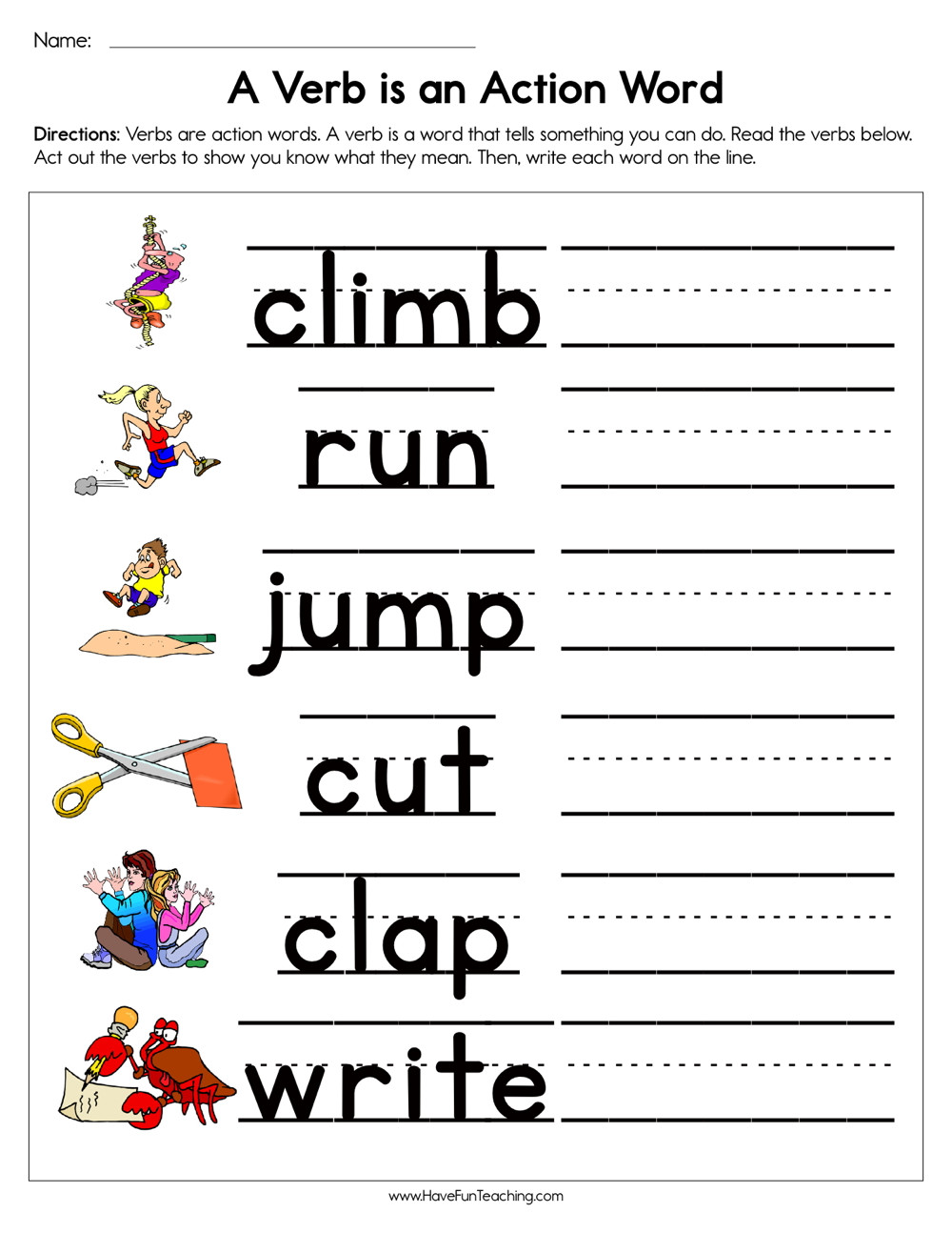 Verbs Worksheets for 1st Grade Muads Work Lessons Tes Teach