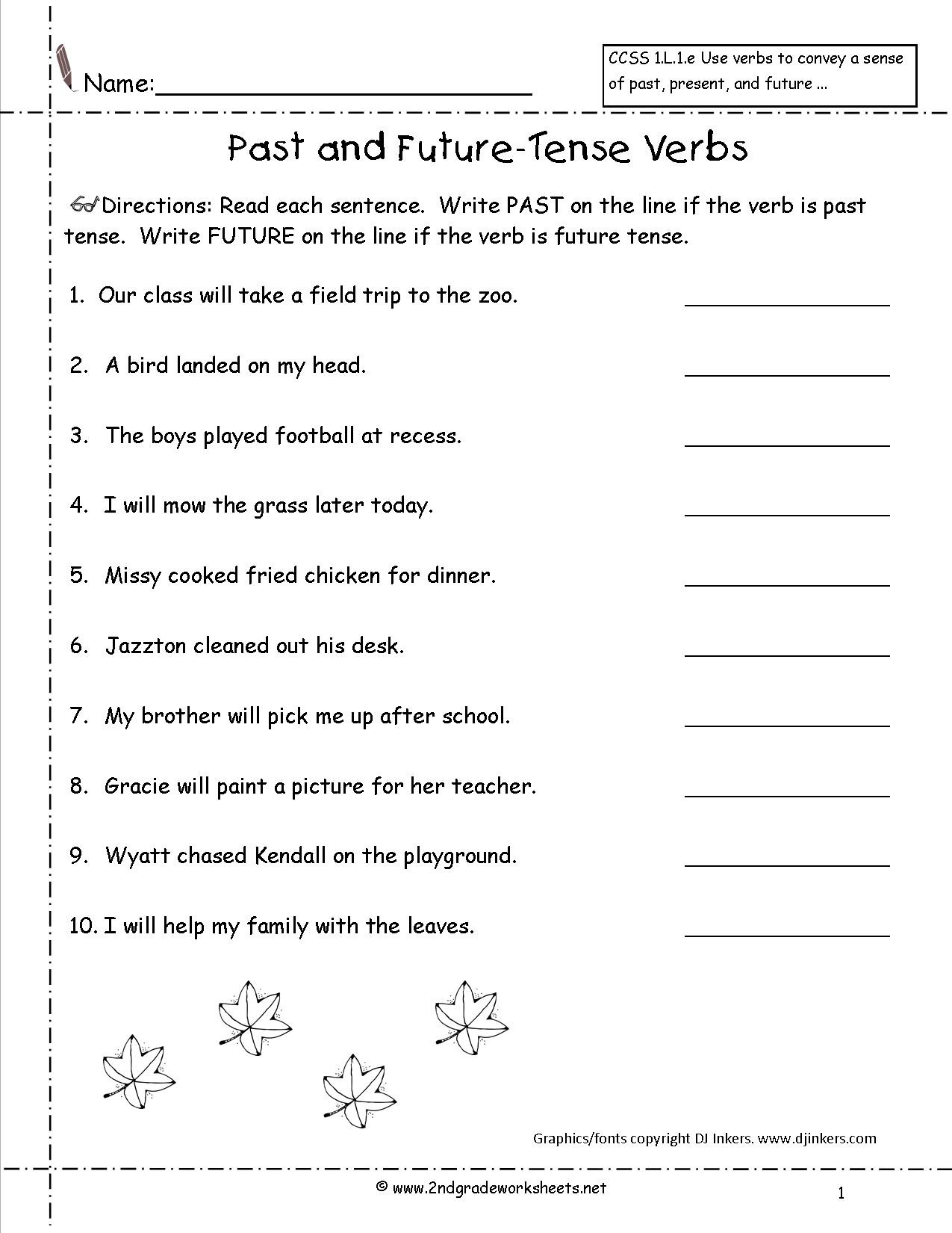 Verbs Worksheets for 1st Grade Second Grade Verb Worksheets