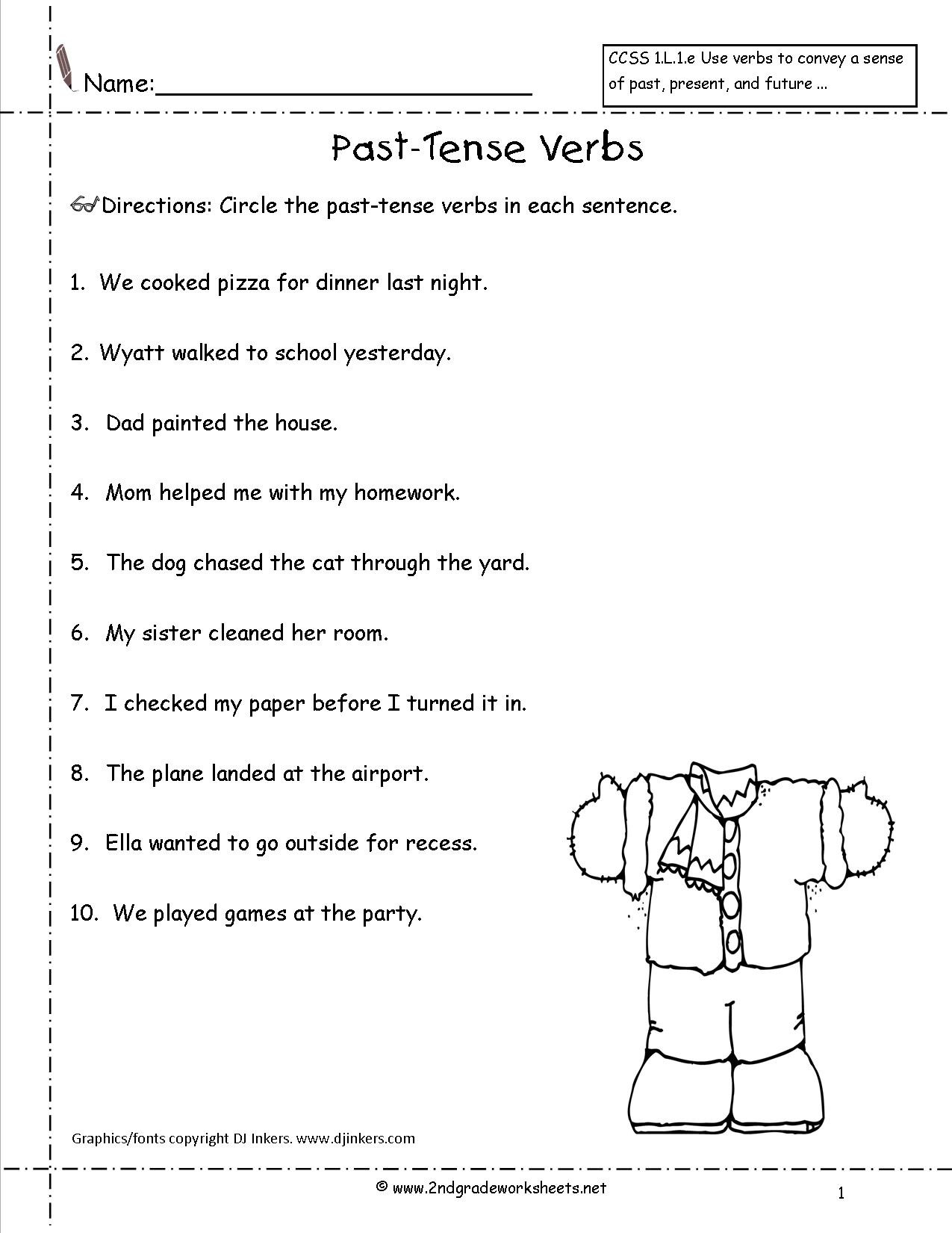 Verbs Worksheets for 1st Grade Simple Past Tense Worksheets Grade 3