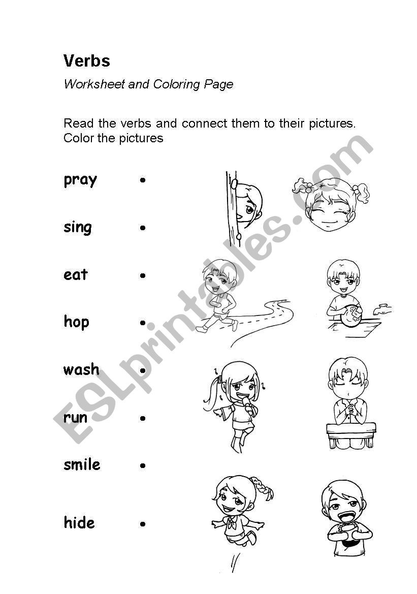 Verbs Worksheets for 1st Grade Verbs Action Words Worksheet Coloring Esl Verb Worksheets