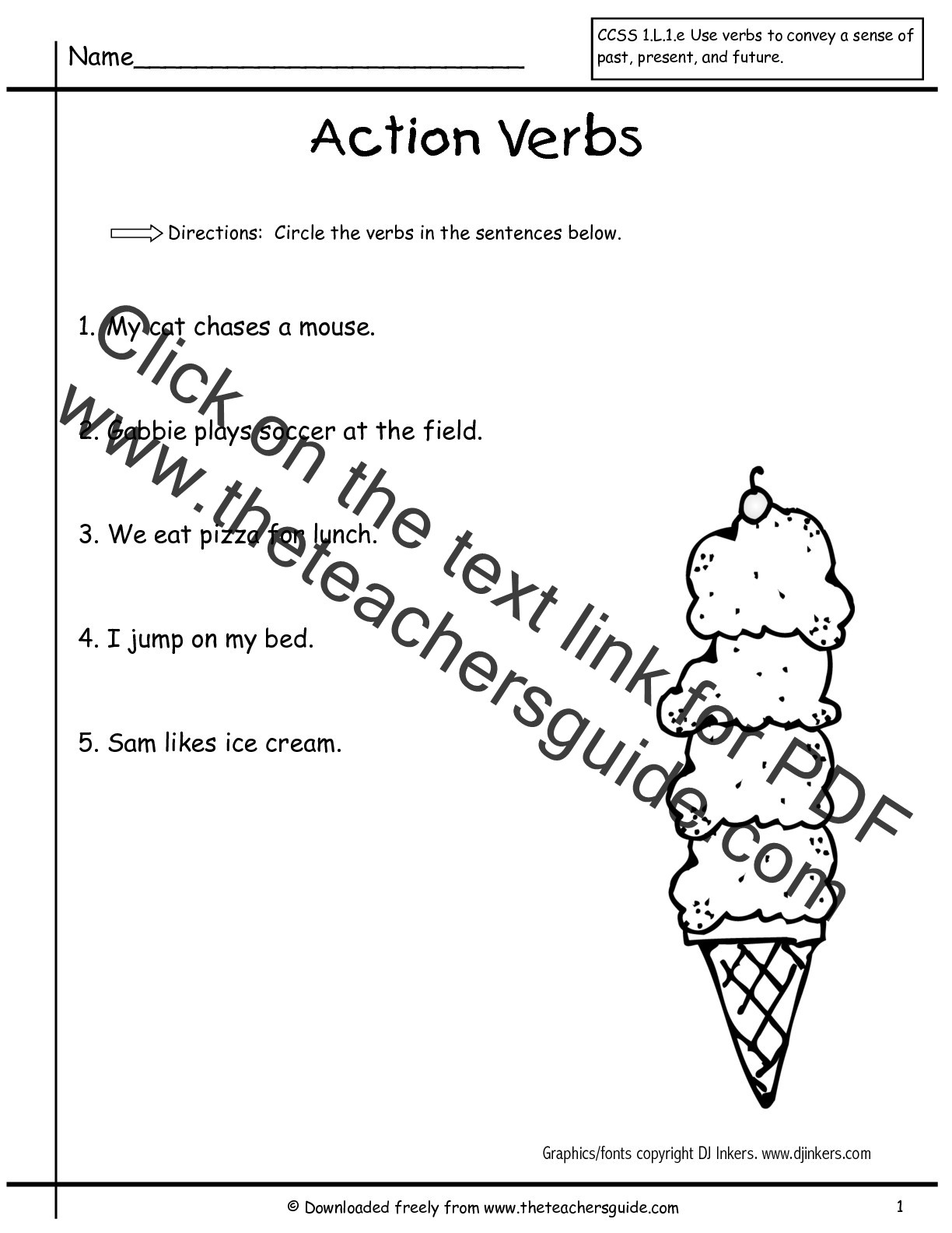 Verbs Worksheets for 1st Grade Worksheet Verbs