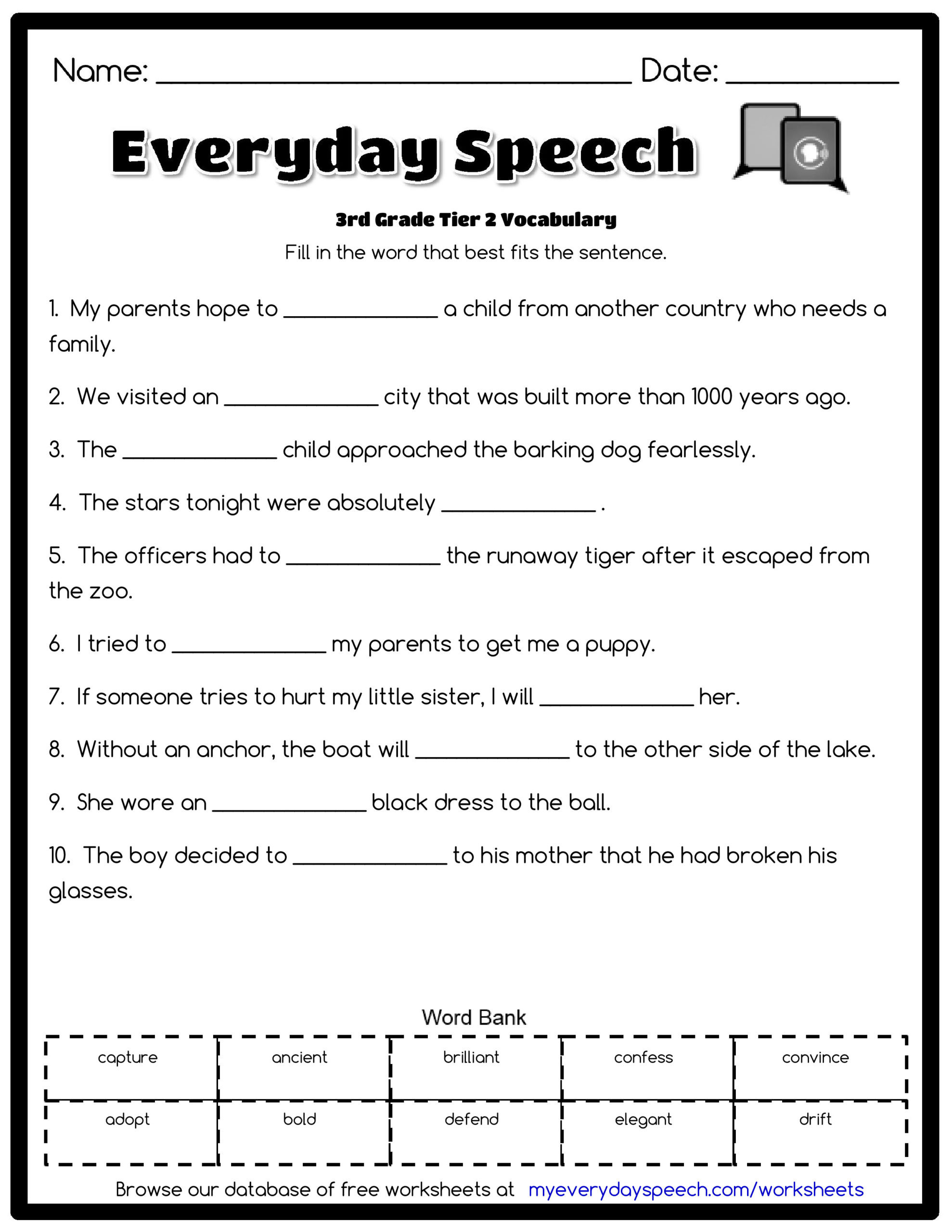 Vocabulary Worksheets for 1st Graders 3rd Grade Vocabulary Worksheets for Free Third Math Goo S