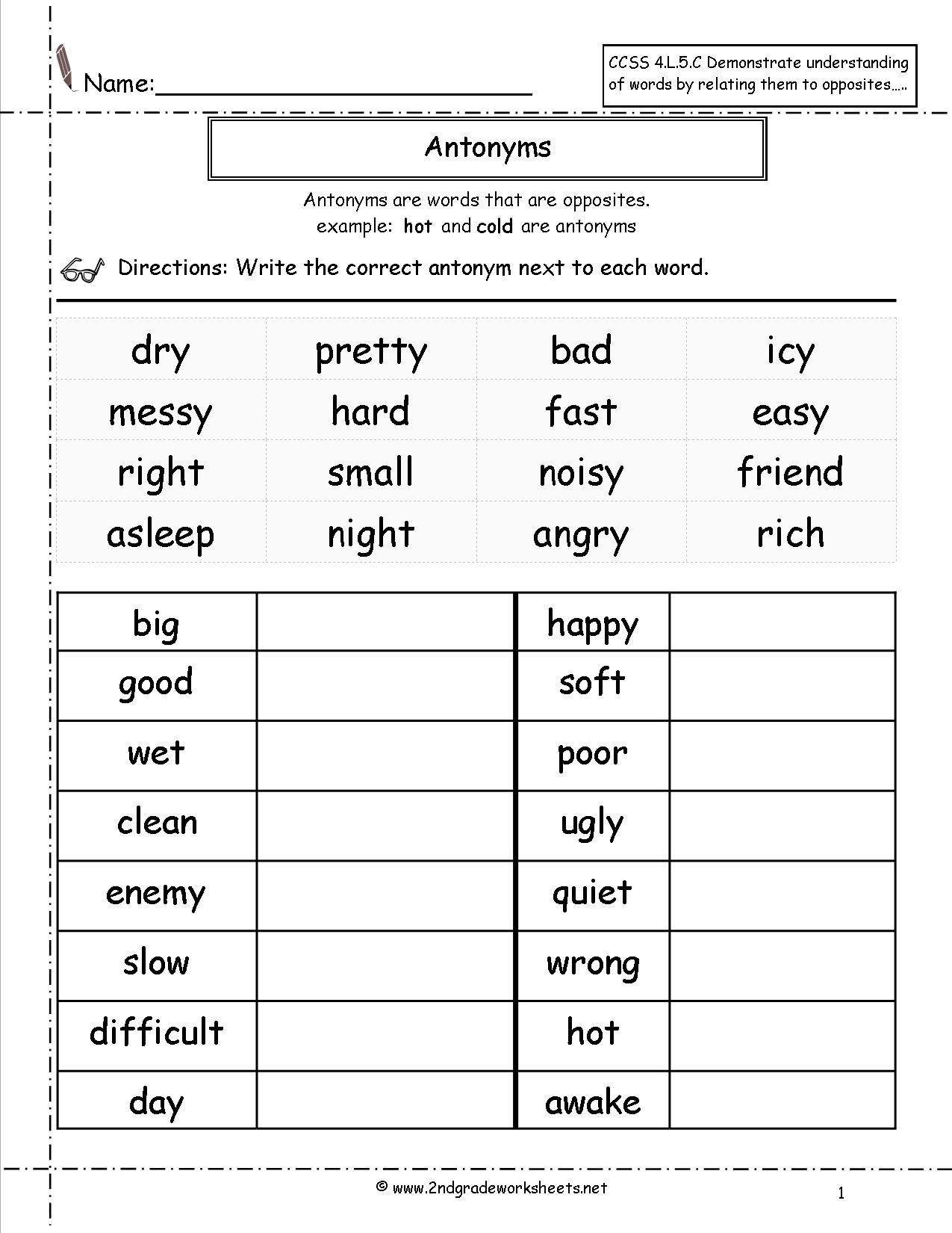 Vocabulary Worksheets for 1st Graders Antonyms Worksheet