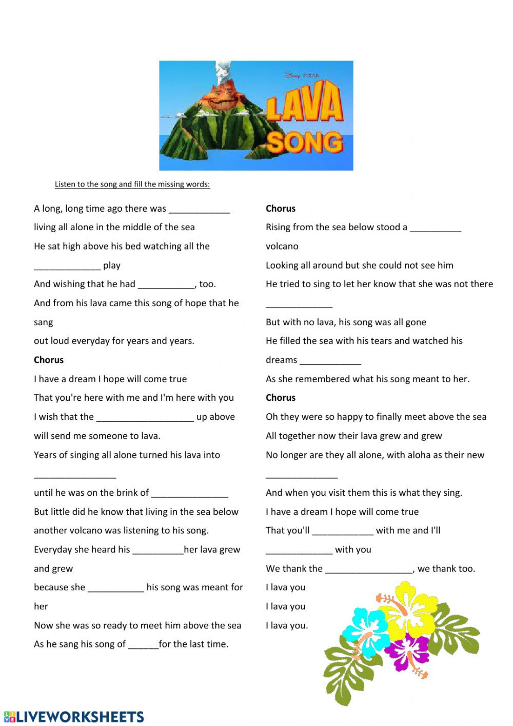 Volcano Worksheets High School Lava song Interactive Worksheet