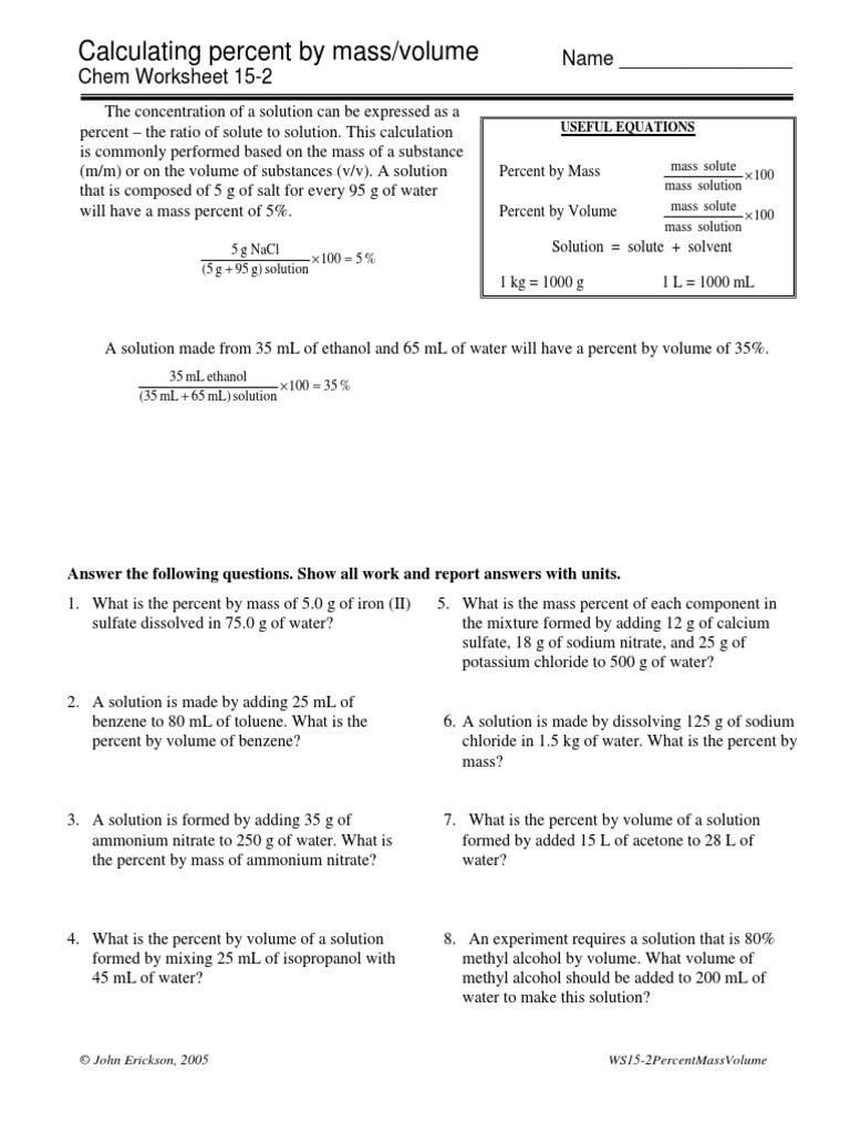 Volume Worksheet 4th Grade Calculating Percent by Mass Volume Chem Worksheet 15 2