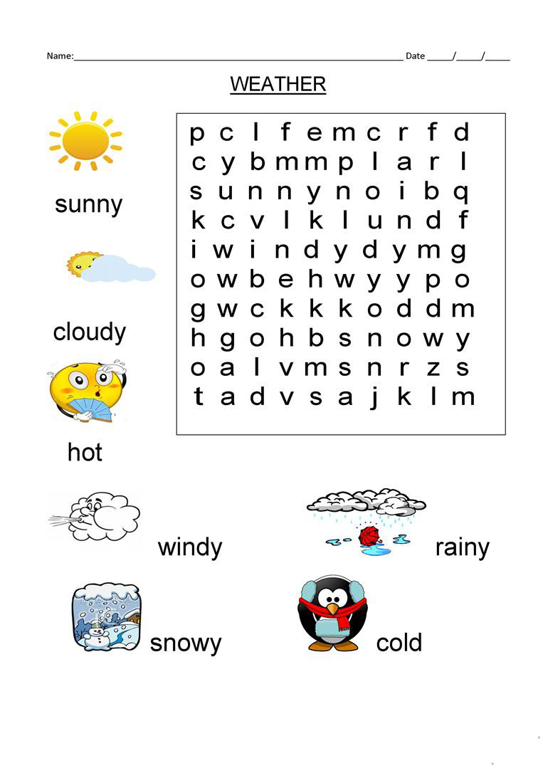 Weather Worksheets for First Graders 1st Grade Word Search Best Coloring Pages for Kids