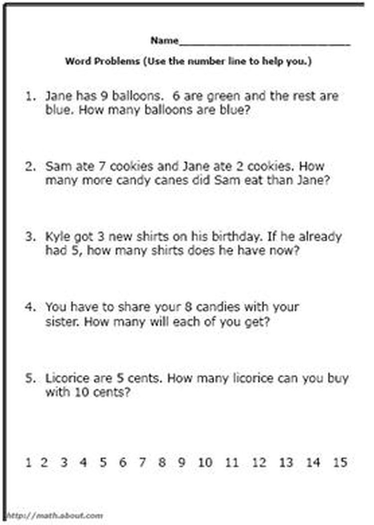 Word Problem Worksheets for First Grade Math