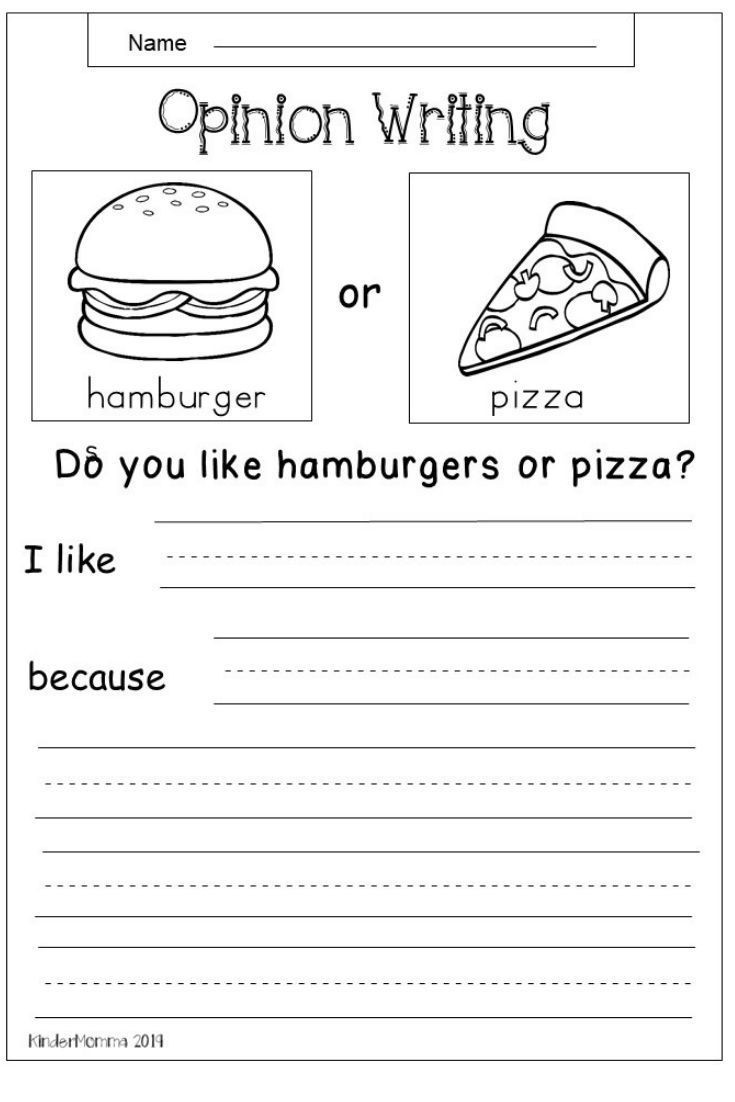 Worksheets for First Grade Writing Free Opinion Writing Worksheet