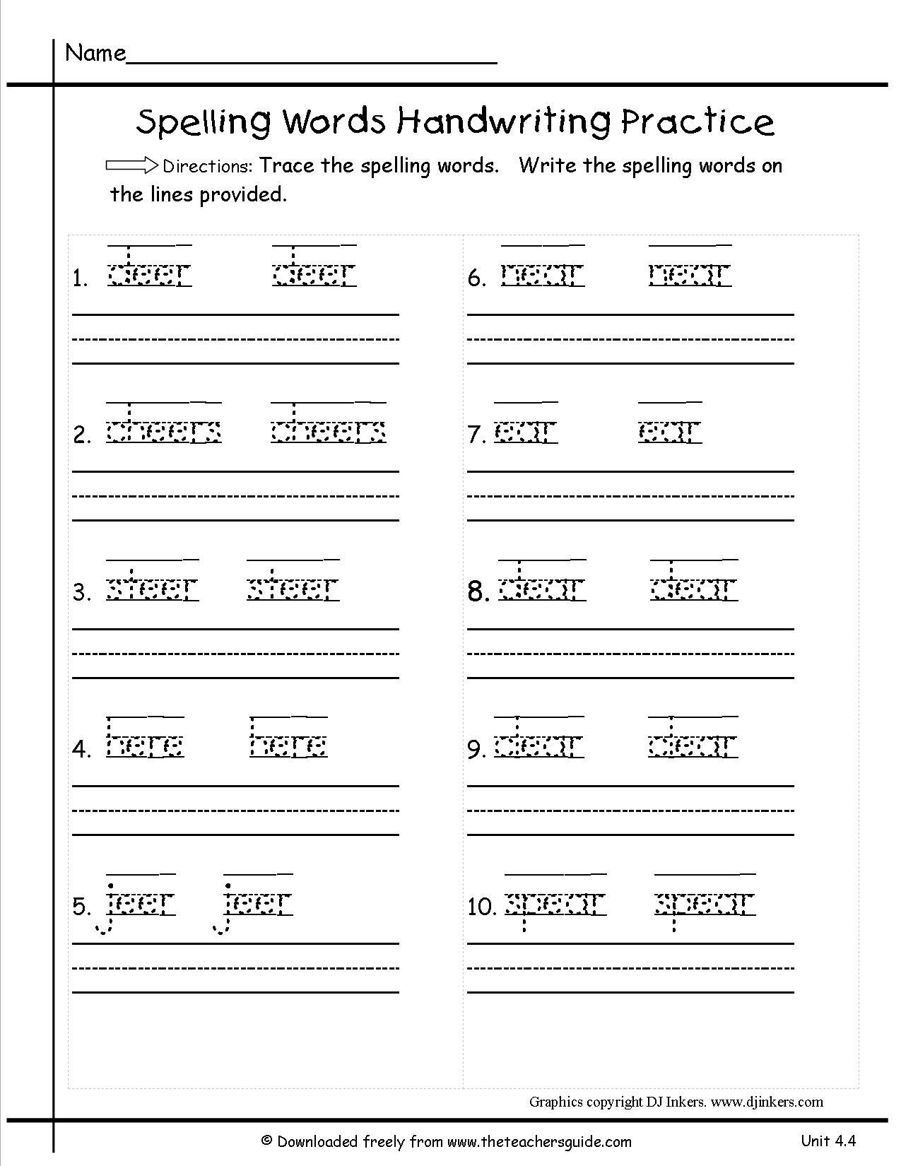 Writing Sheets for 1st Graders 1st Grade Spelling Worksheets for Download Free 1st Grade