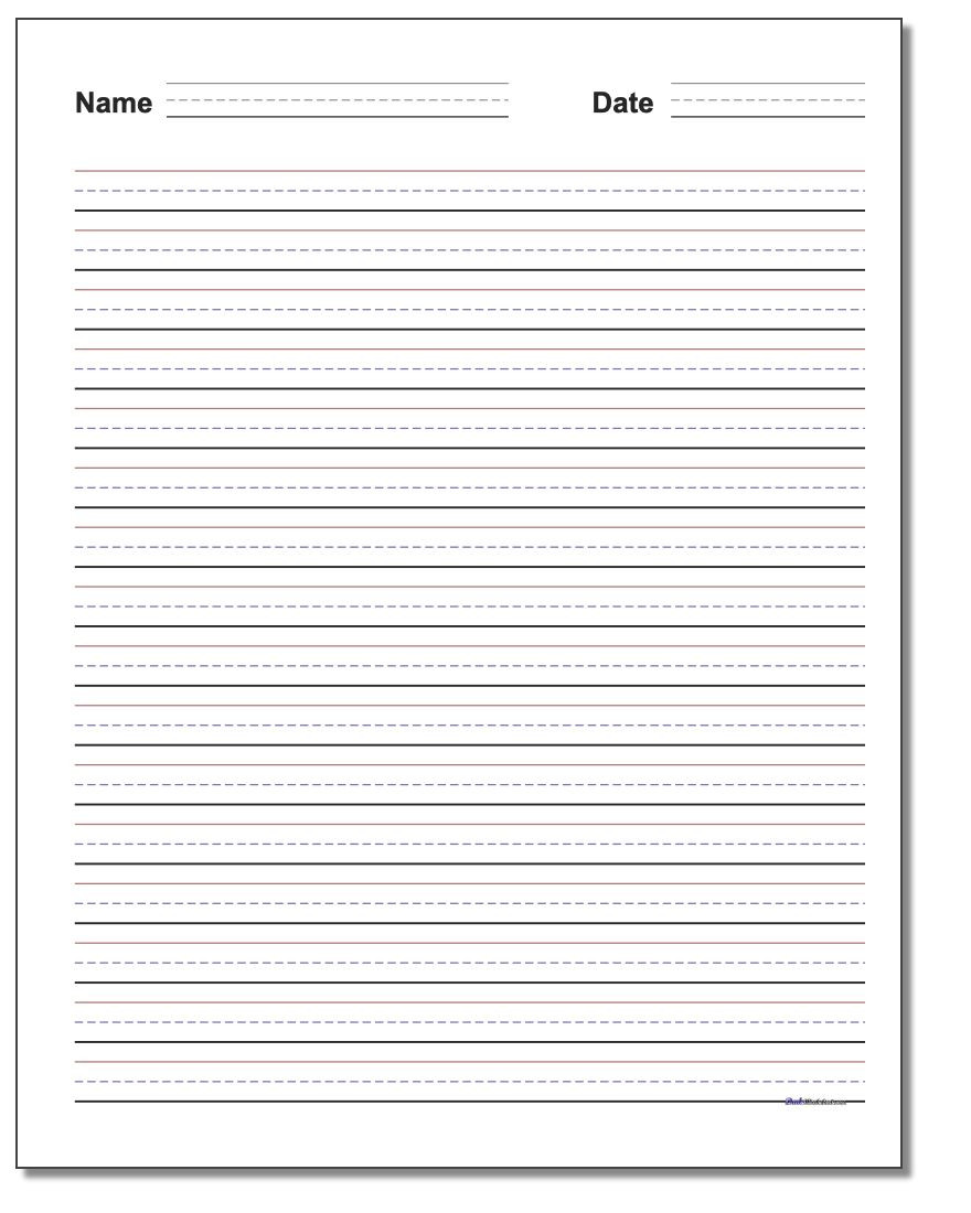 Writing Worksheets 4th Grade Handwriting Paper
