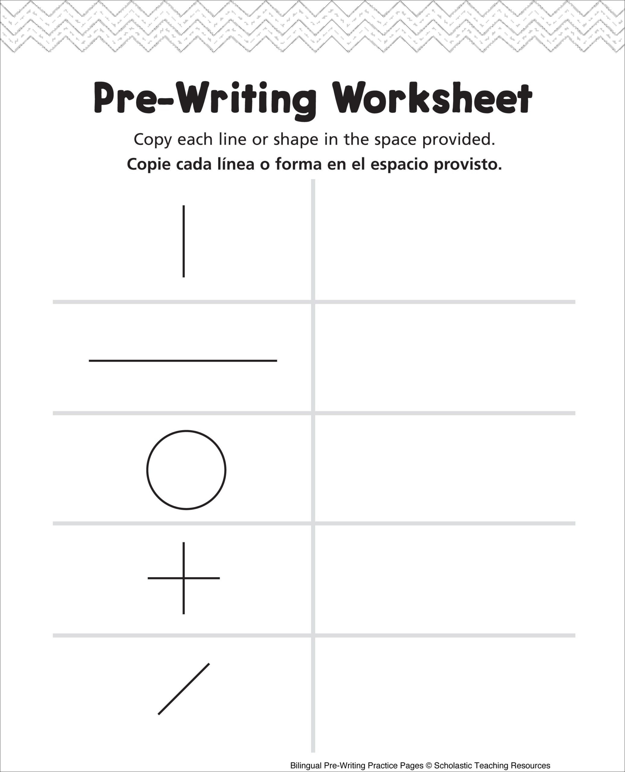 Writing Worksheets 7th Grade Pre Writing Worksheet Bilingual Practice Handwriting Shapes