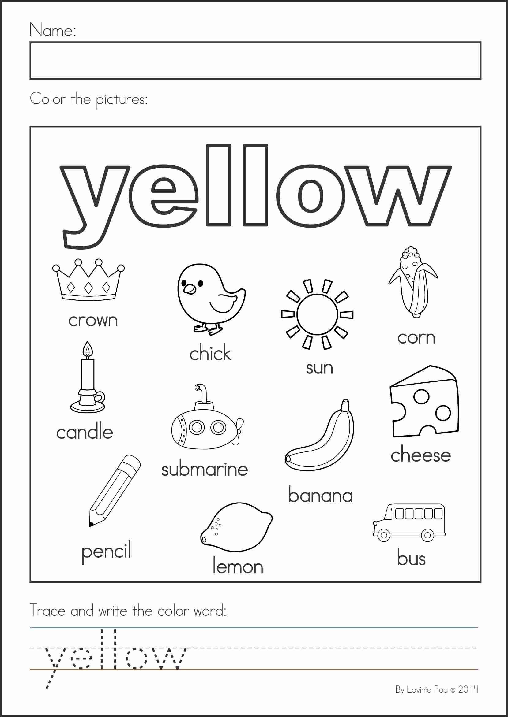 Yellow Worksheets for Preschool Best Worksheets by Herbert