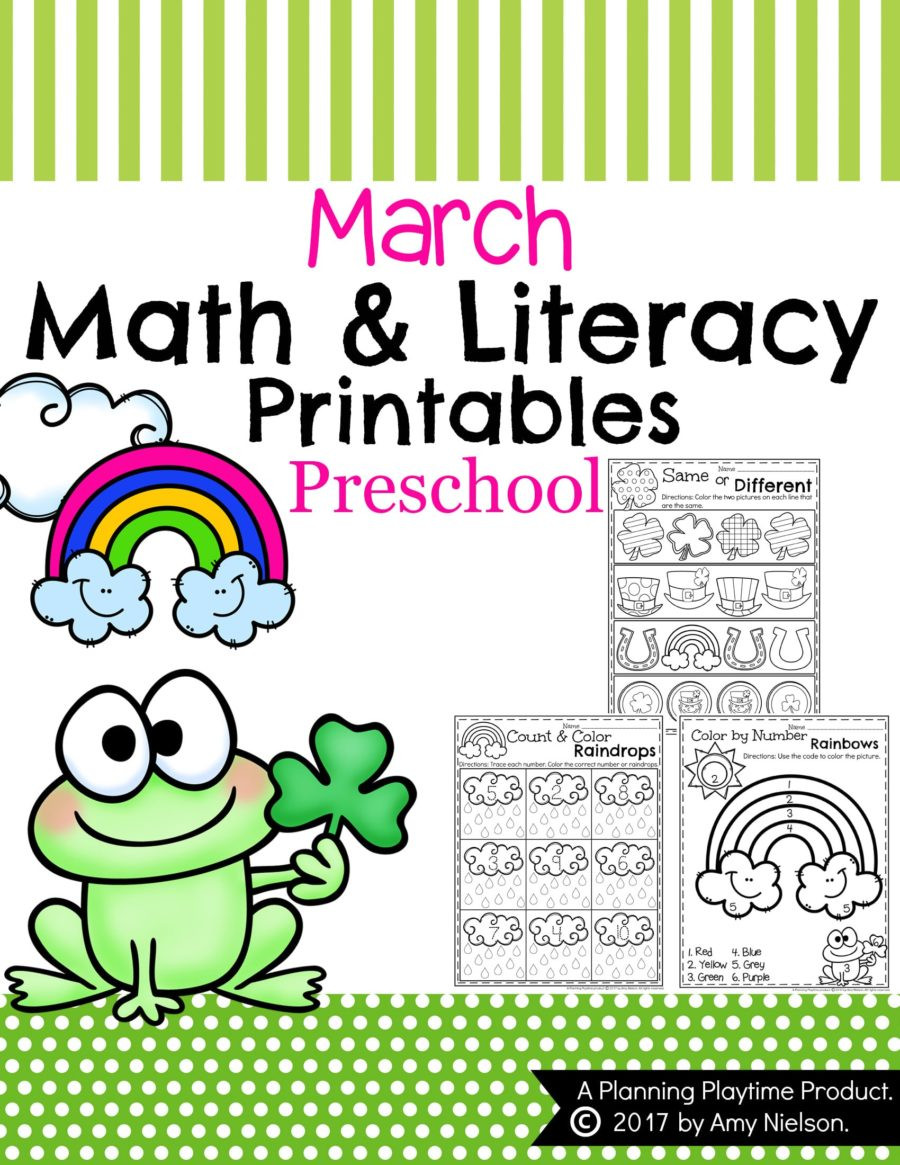 Yellow Worksheets for Preschool March Preschool Worksheets Planning Playtime