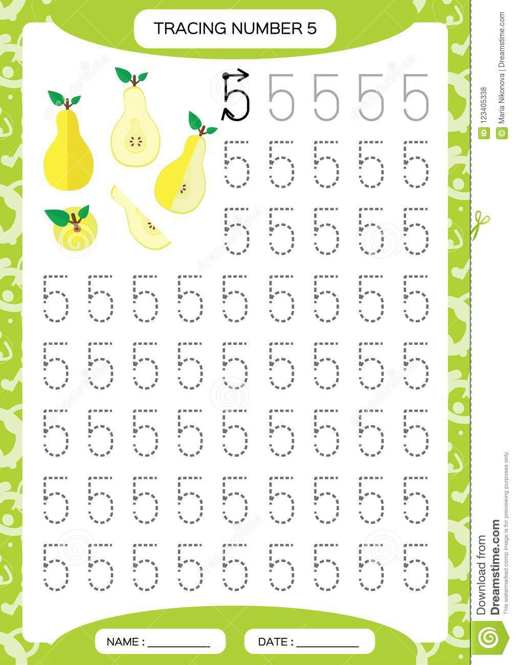 Yellow Worksheets for Preschool Number 5 Five Tracing Worksheet for Kids Yellow Juicy