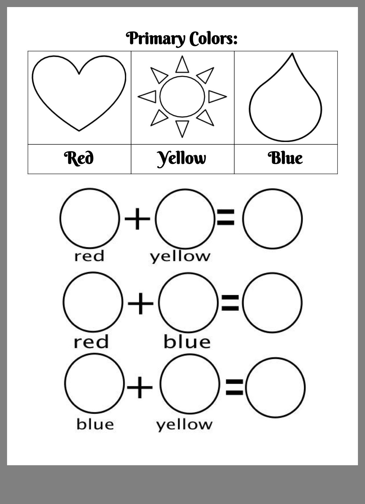 Yellow Worksheets for Preschool Pin by Swan Shore Studios On K 1