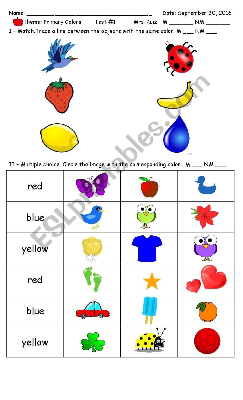 Yellow Worksheets for Preschool Primary Colors Preschool Kinder Esl Worksheet by Ruthma08