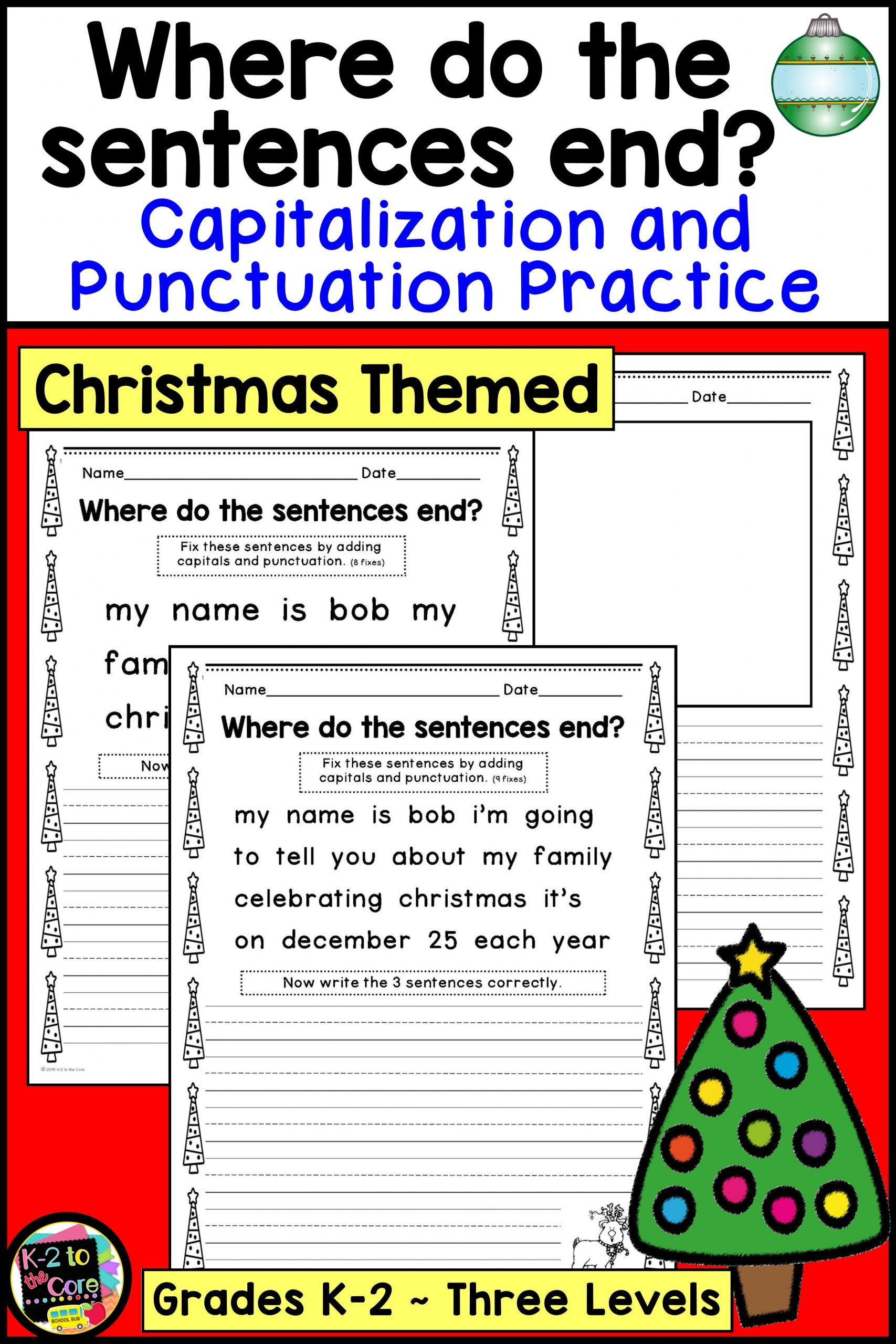 2nd Grade Editing Worksheets Christmas Writing Capitalization and Punctuation Practice