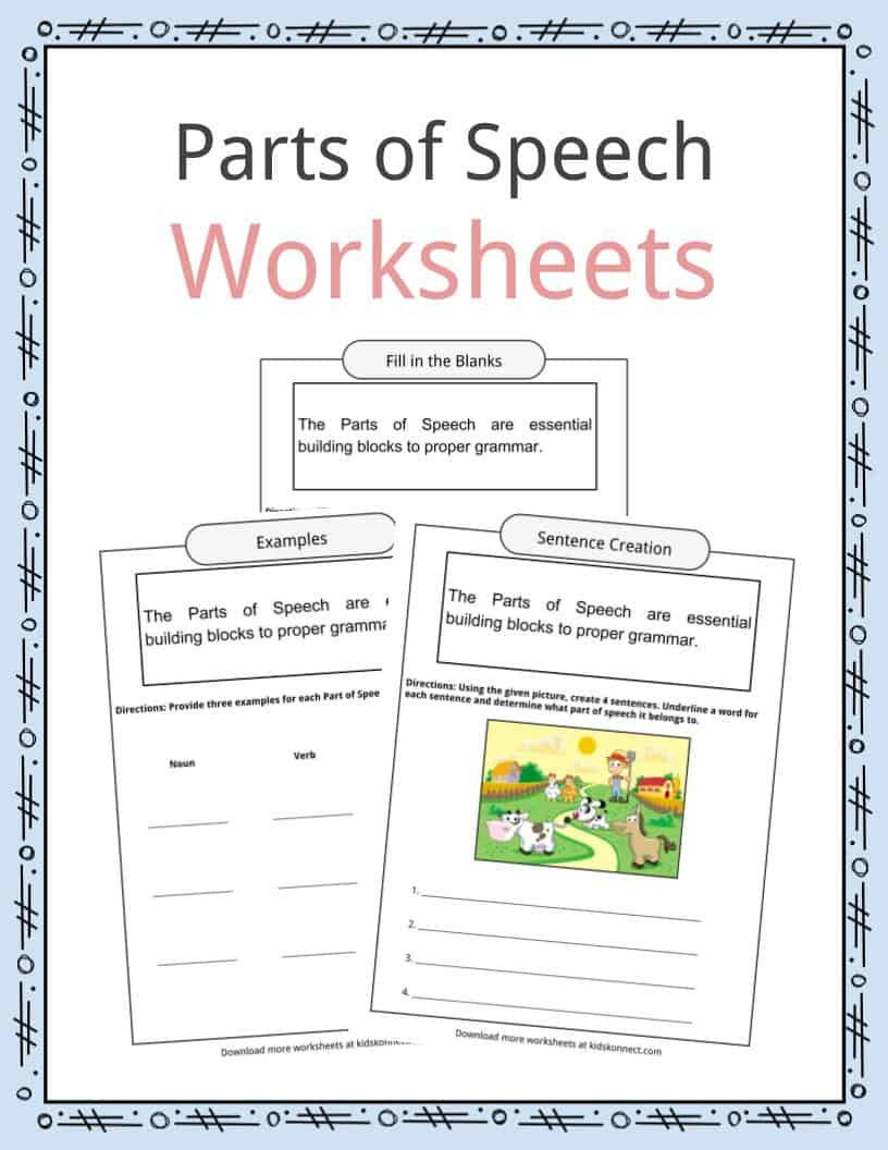 2nd Grade Editing Worksheets Parts Of Speech Worksheets Examples & Definition for Kids