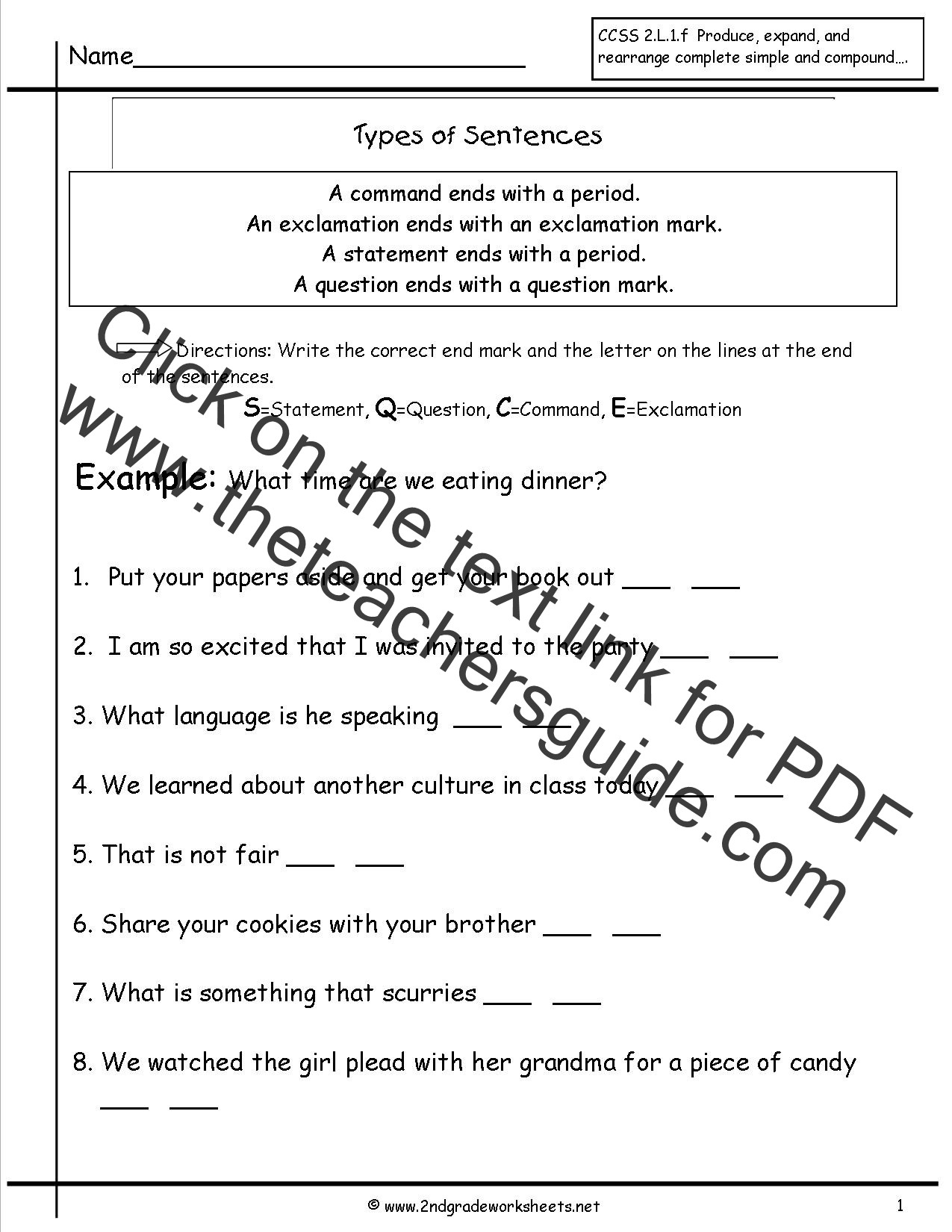 2nd Grade Editing Worksheets Second Grade Sentences Worksheets Ccss 2 L 1 F Worksheets