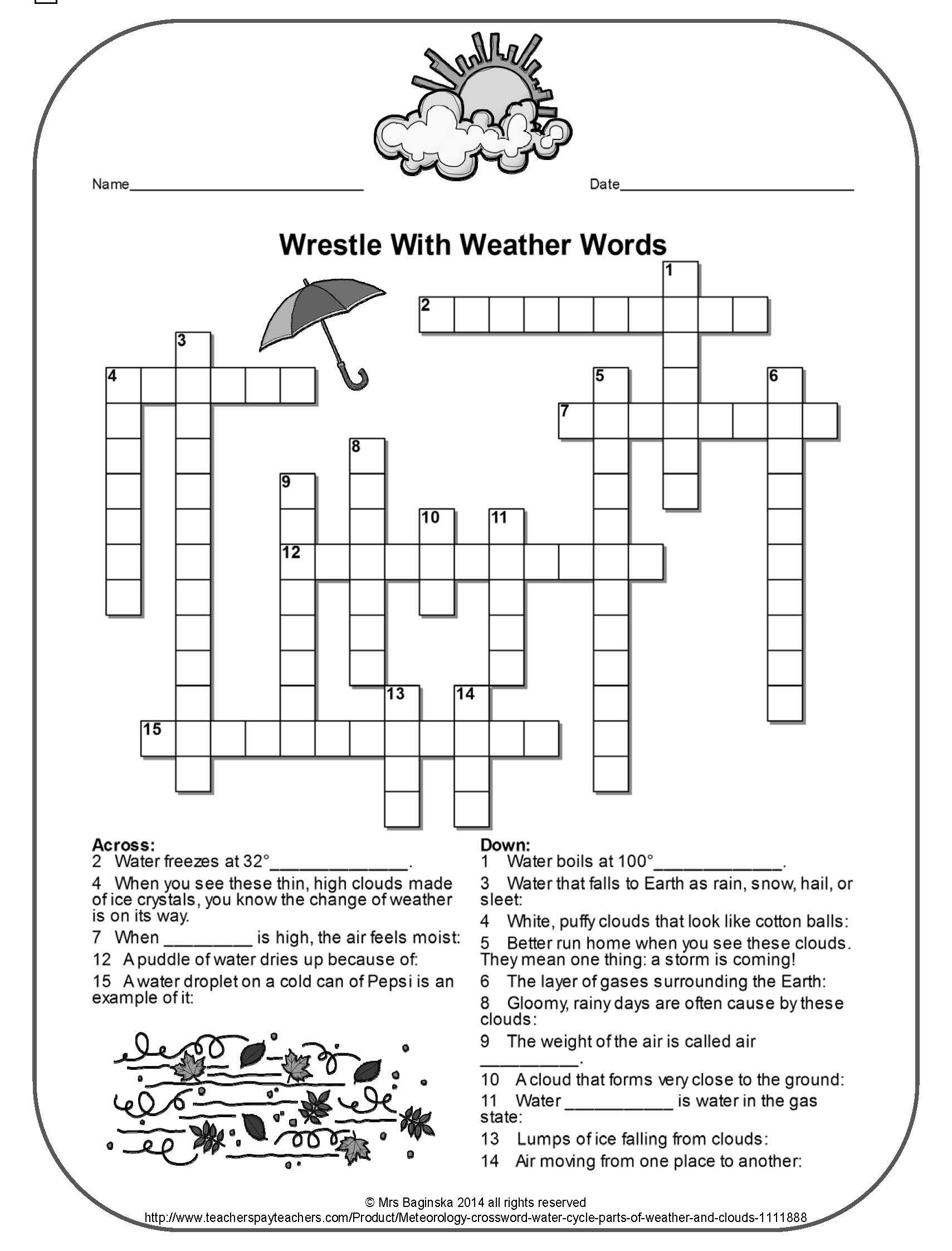 2nd Grade Weather Worksheets Free Weather Crossword Perfect for the Review Of Important