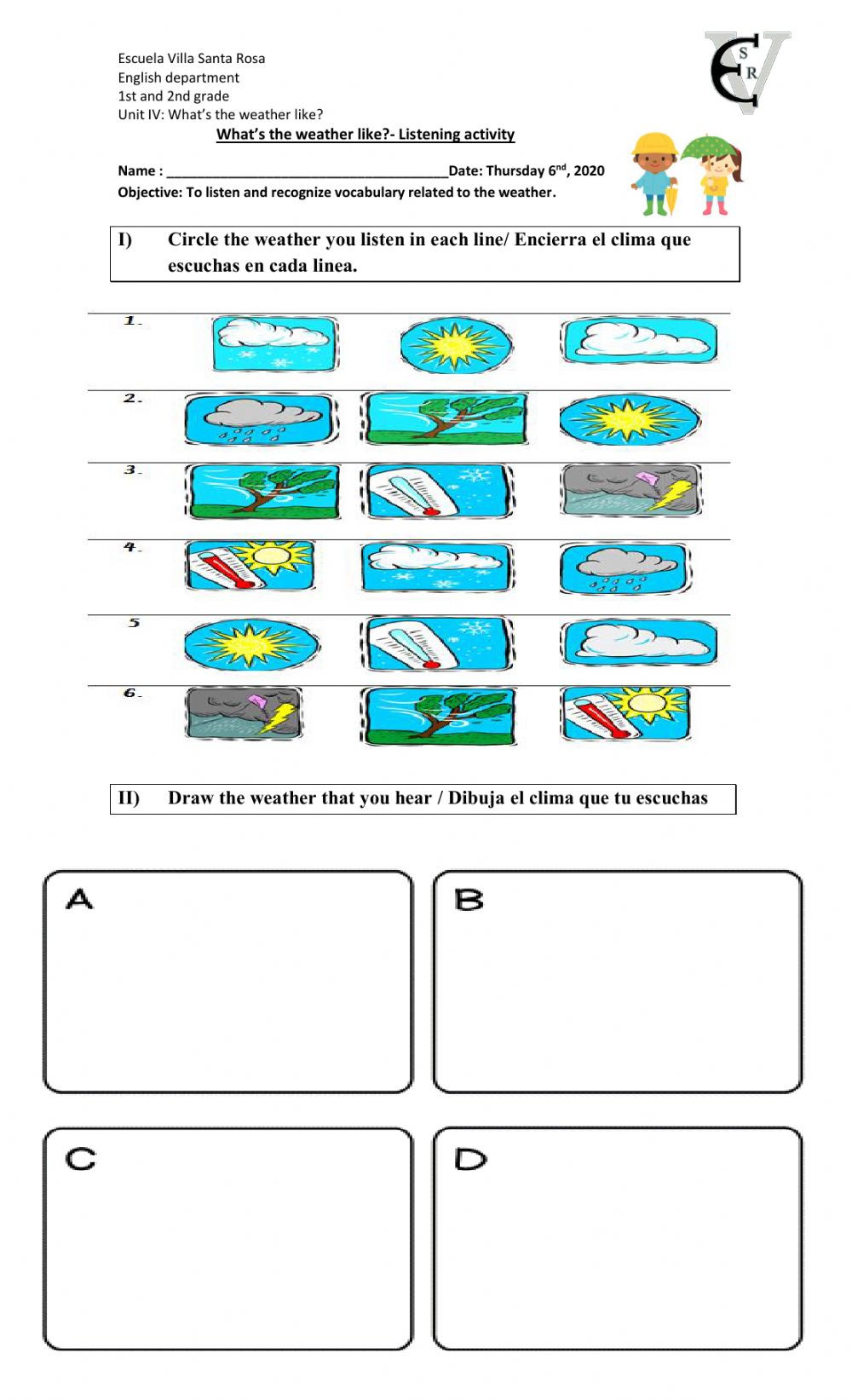 2nd Grade Weather Worksheets What S the Weather Like 3 Interactive Worksheet