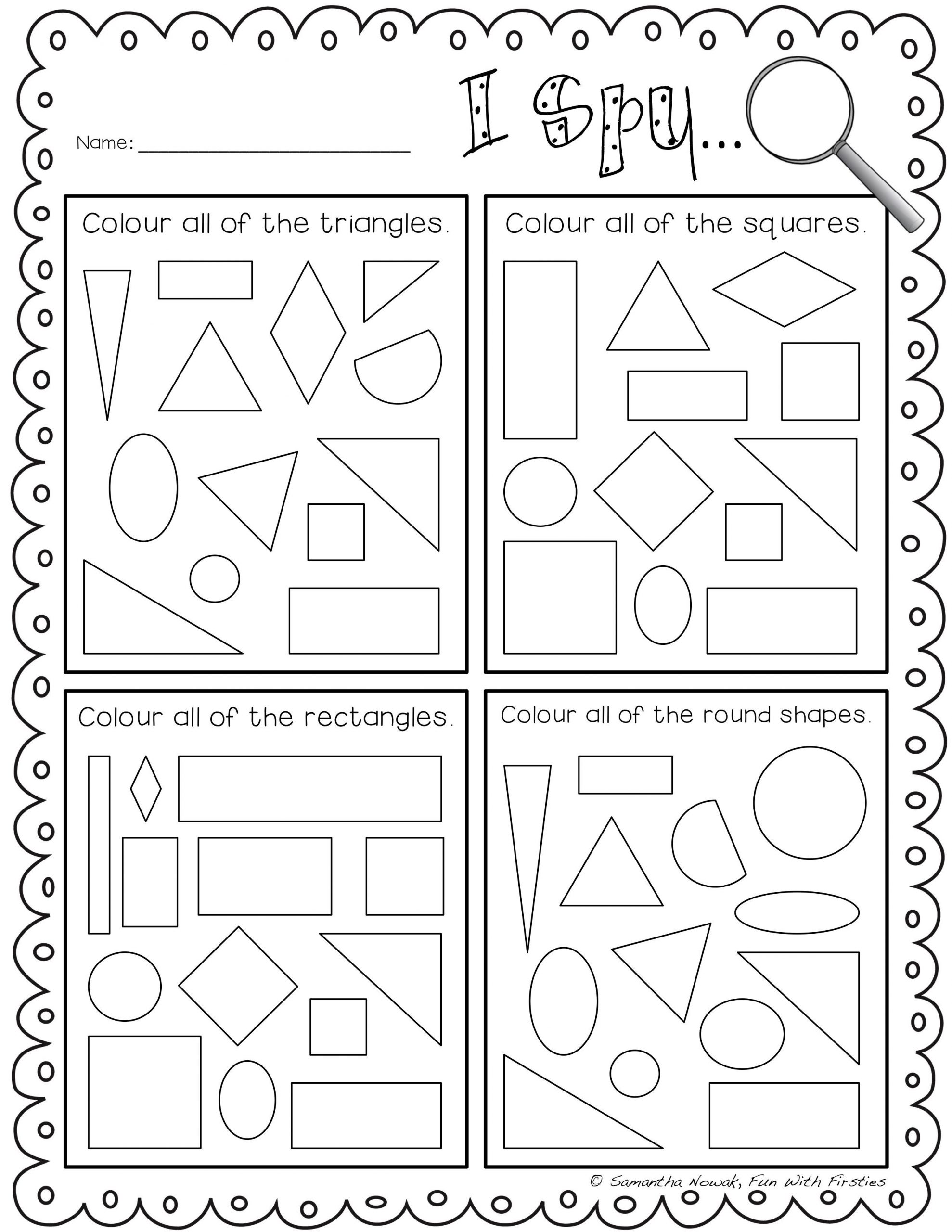 3d Shapes Worksheets 2nd Grade I Spy 2d Geometry Shapes Lour to Practice Identifying