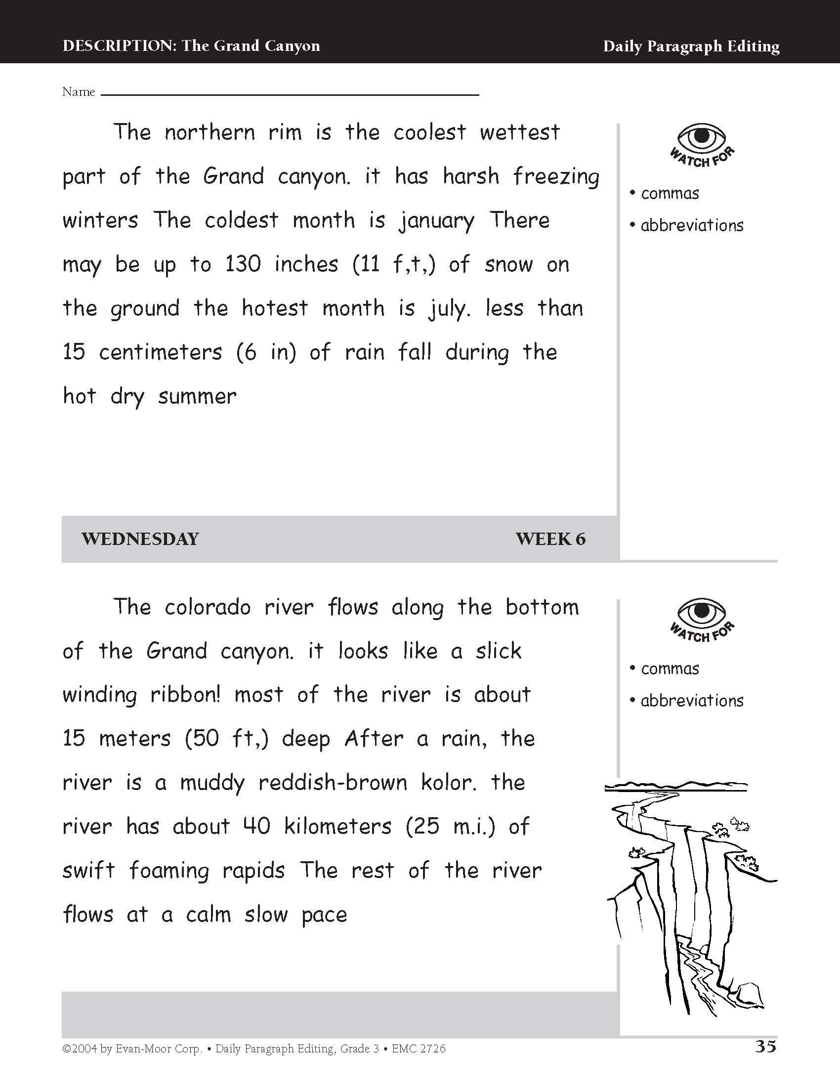 3rd Grade Editing Worksheets Amazon Daily Paragraph Editing Grade 3