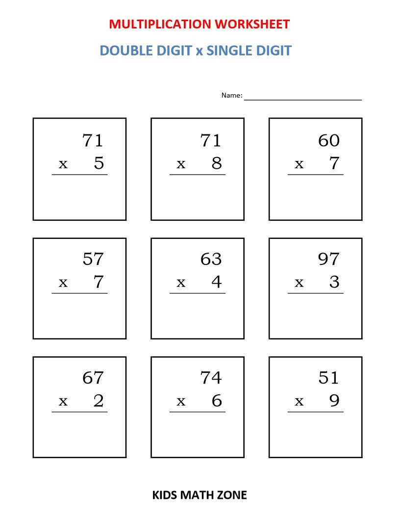 3rd Grade Geometry Worksheets Pdf Multiplication Double Digit X Single Digit 10 Printable